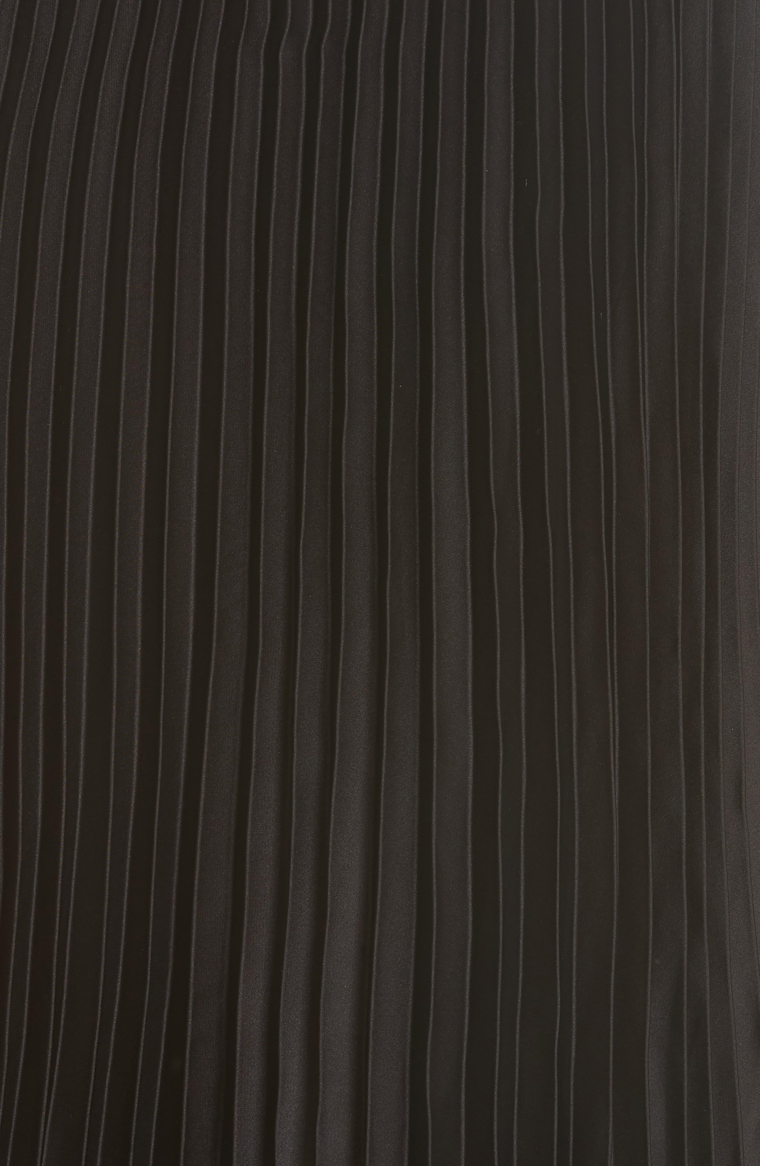 Pleat Back Midi Dress,                             Alternate thumbnail 5, color,                             001