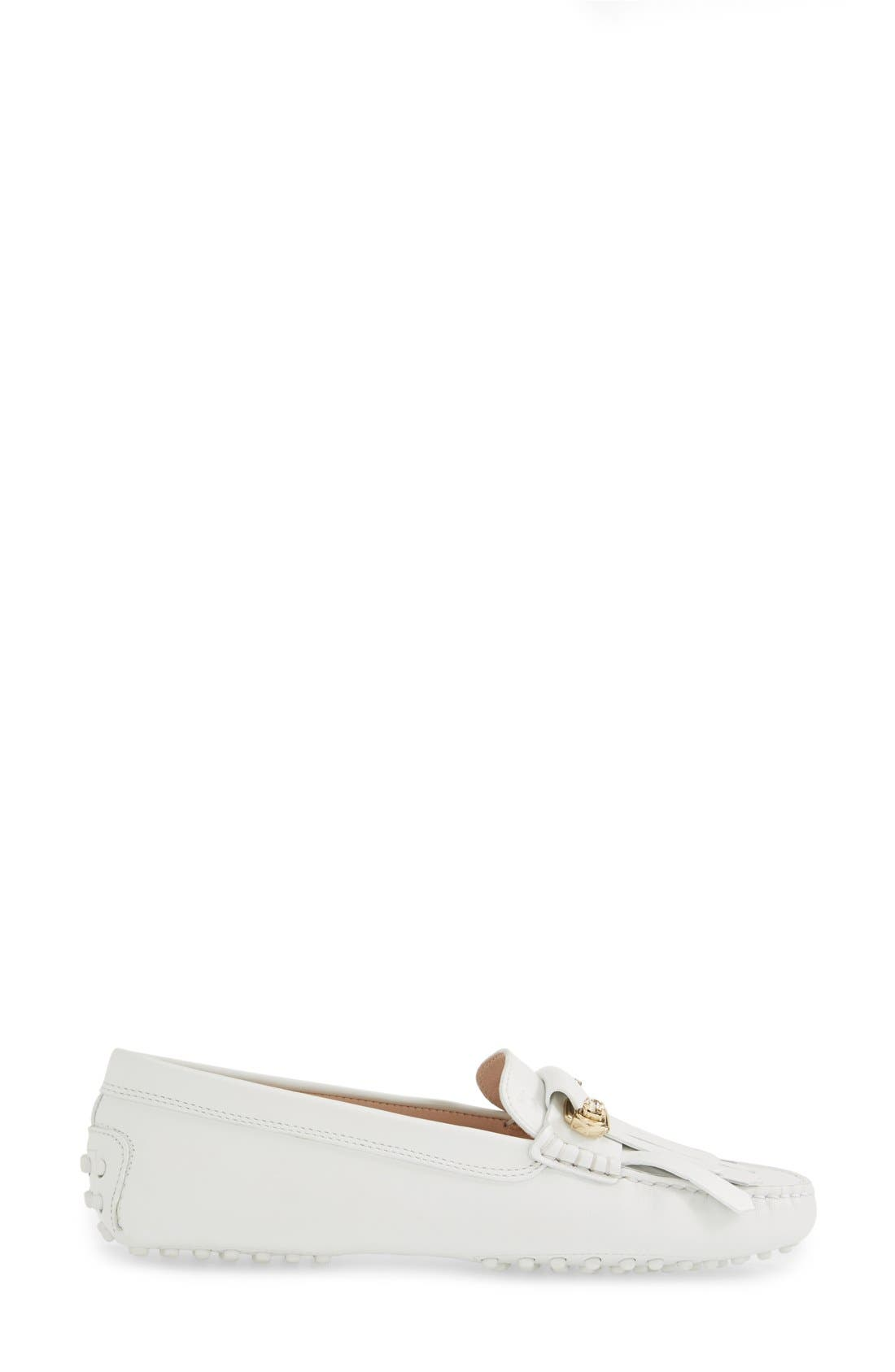 TOD'S,                             'Gommini' Crystal Embellished Fringed Leather Driving Moccasin,                             Alternate thumbnail 4, color,                             100