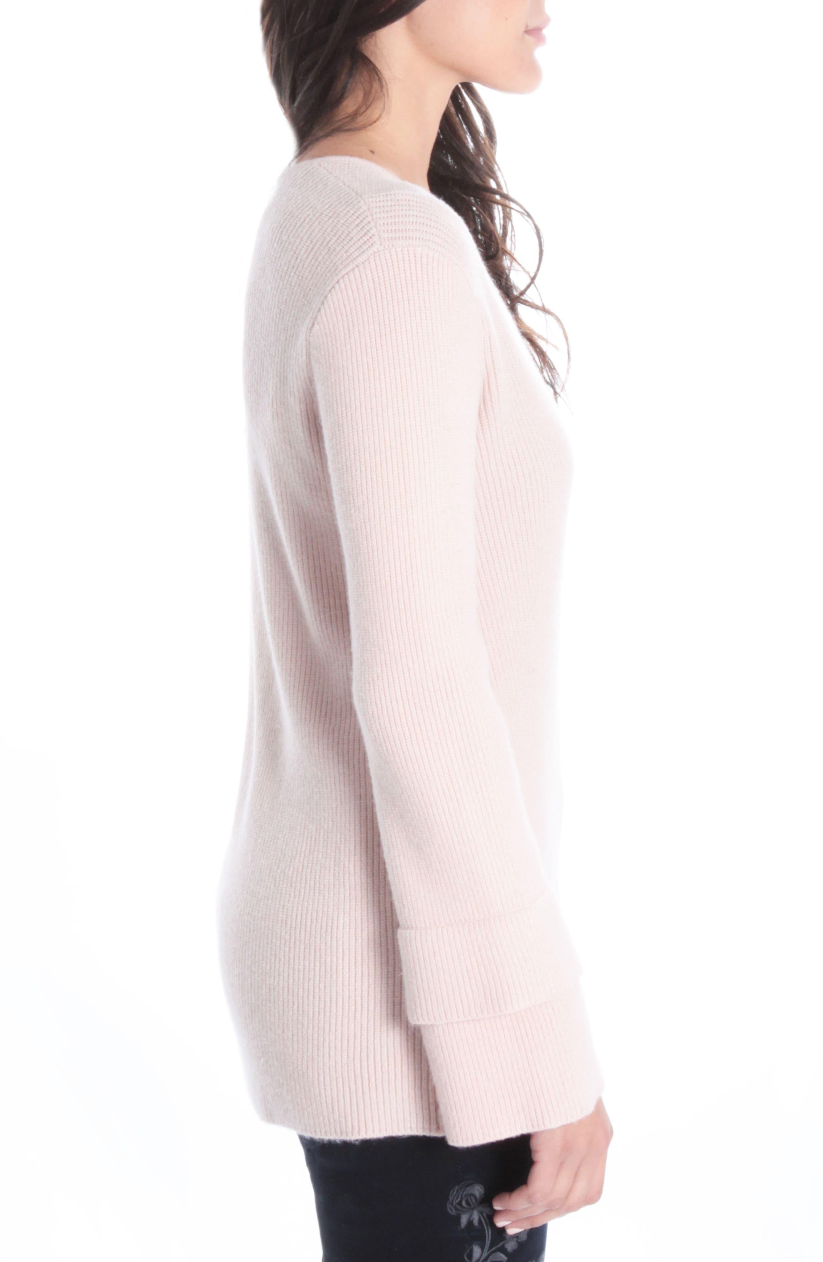 Dariella V-Neck Bell Cuff Sweater,                             Alternate thumbnail 3, color,