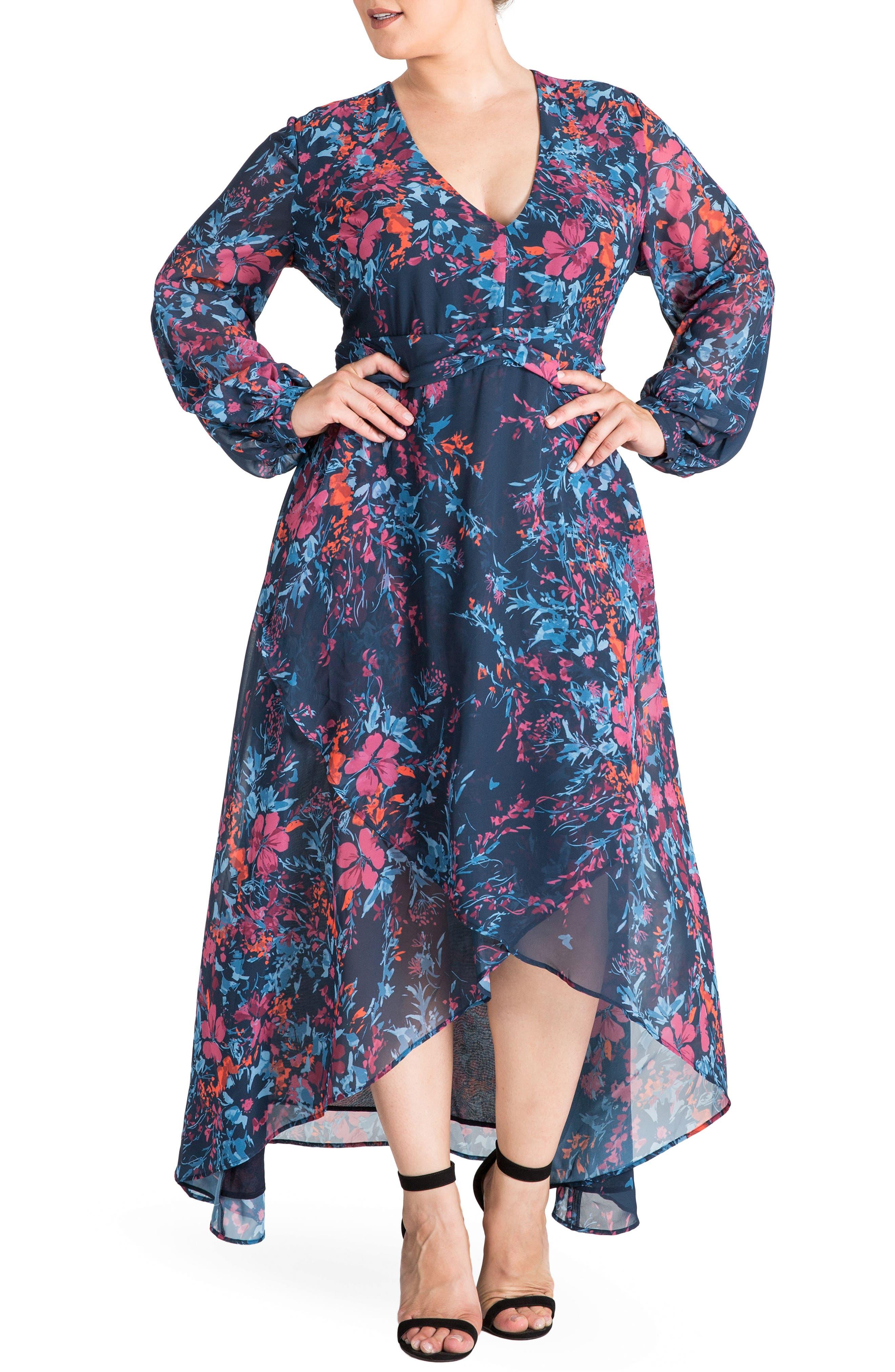 Floral Chiffon Maxi Dress,                         Main,                         color, FLORAL PRINT