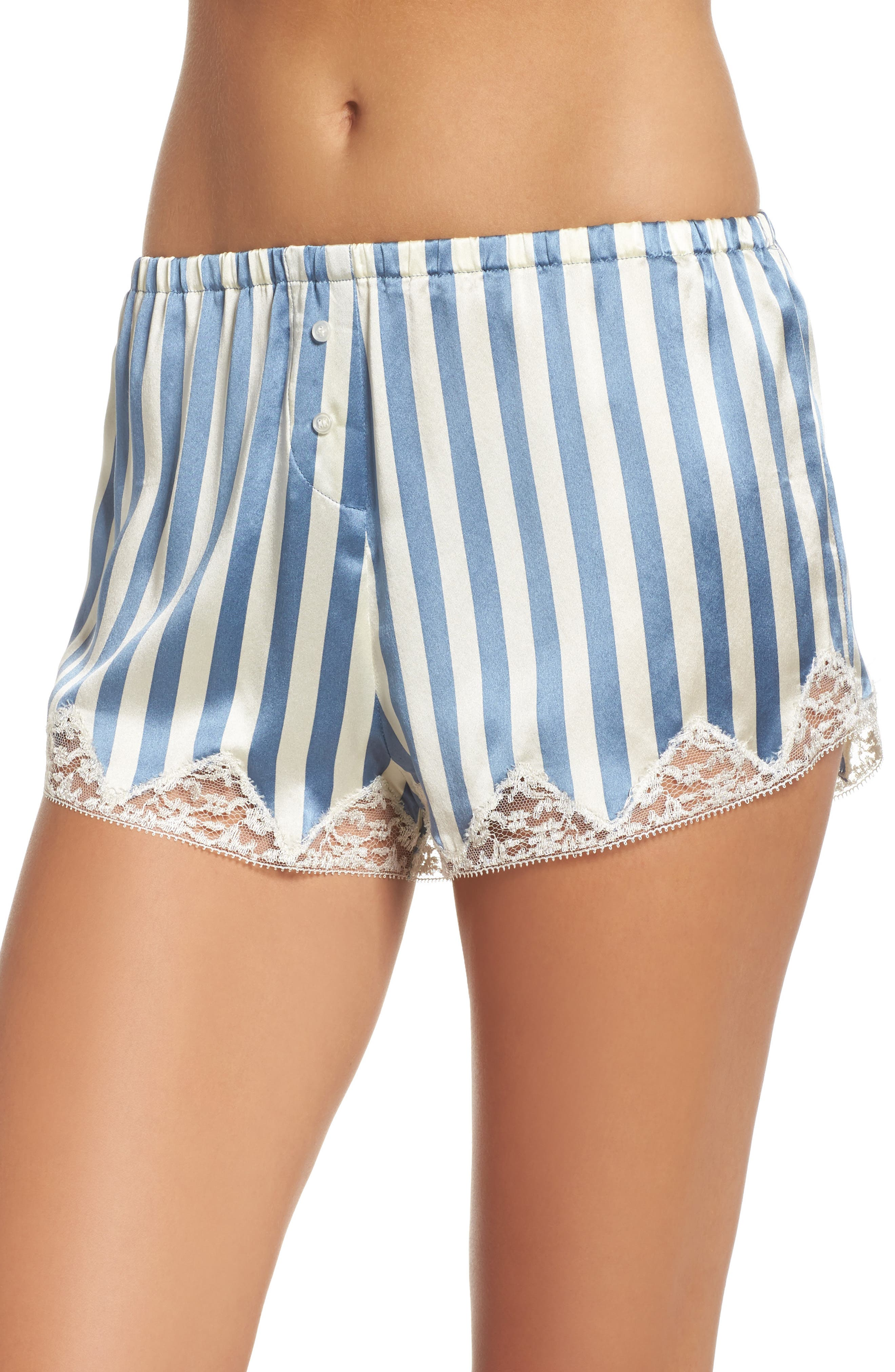 Josephine Silk Stripe Shorts,                         Main,                         color,