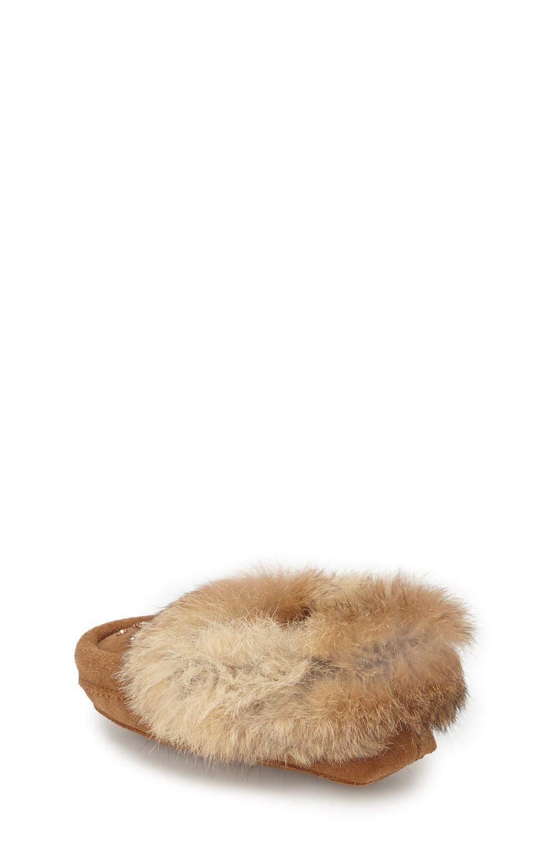 Genuine Rabbit Fur Moccasin,                             Alternate thumbnail 15, color,