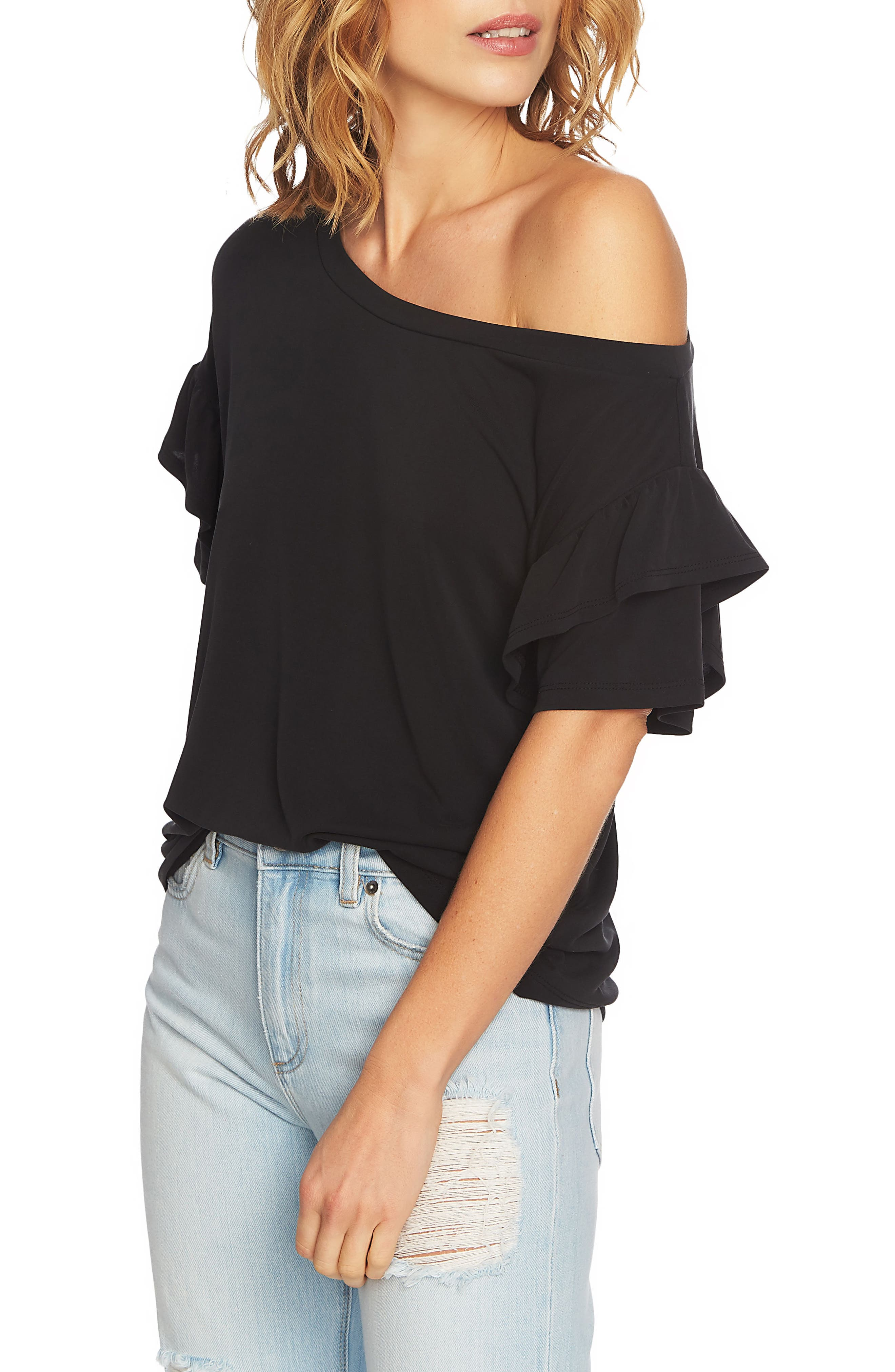 Ruffle Sleeve One-Shoulder Tee,                             Alternate thumbnail 3, color,                             006