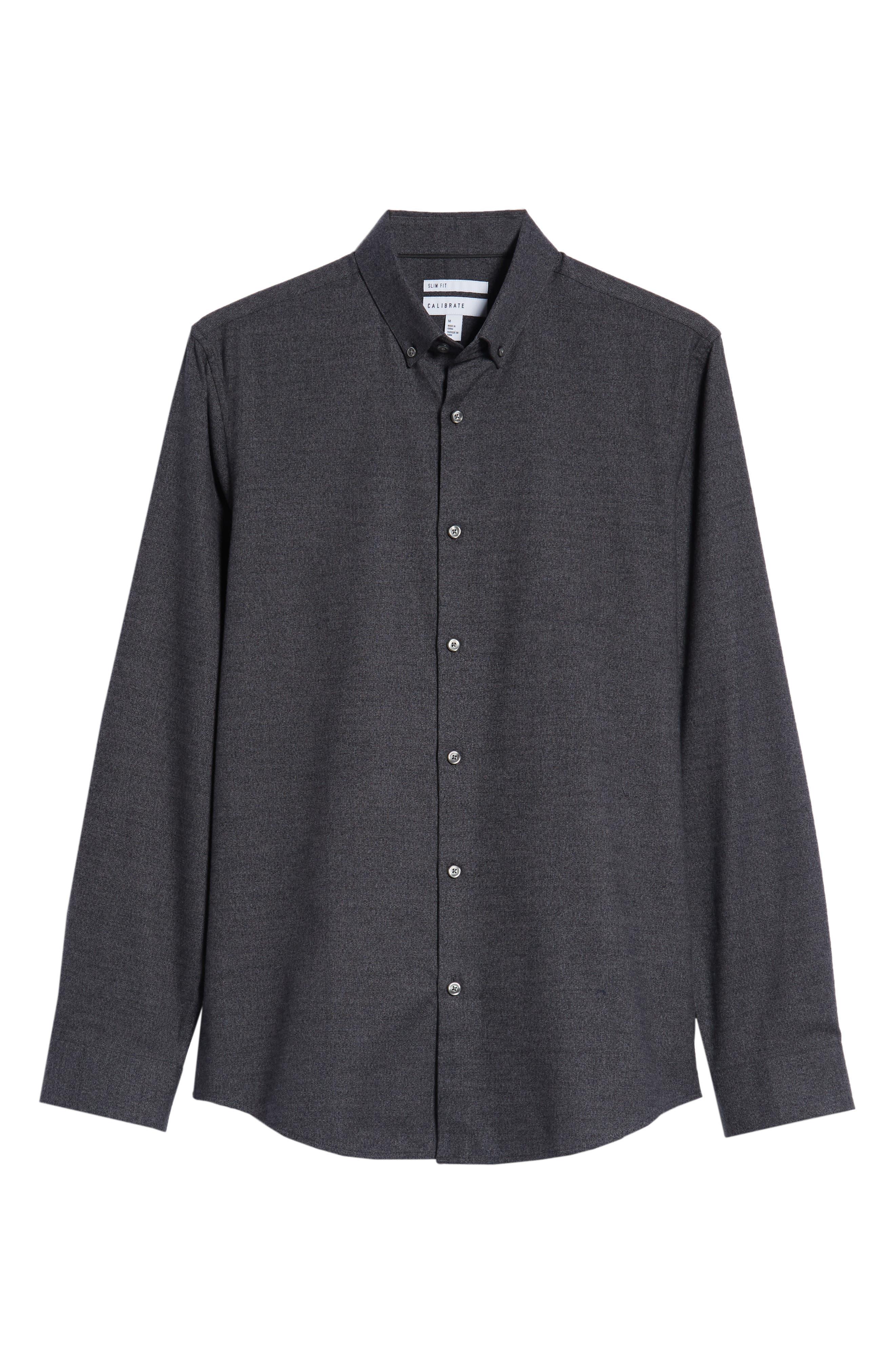 Slim Fit Mini Collar Mélange Sport Shirt,                             Alternate thumbnail 5, color,                             GREY TORNADO JASPE