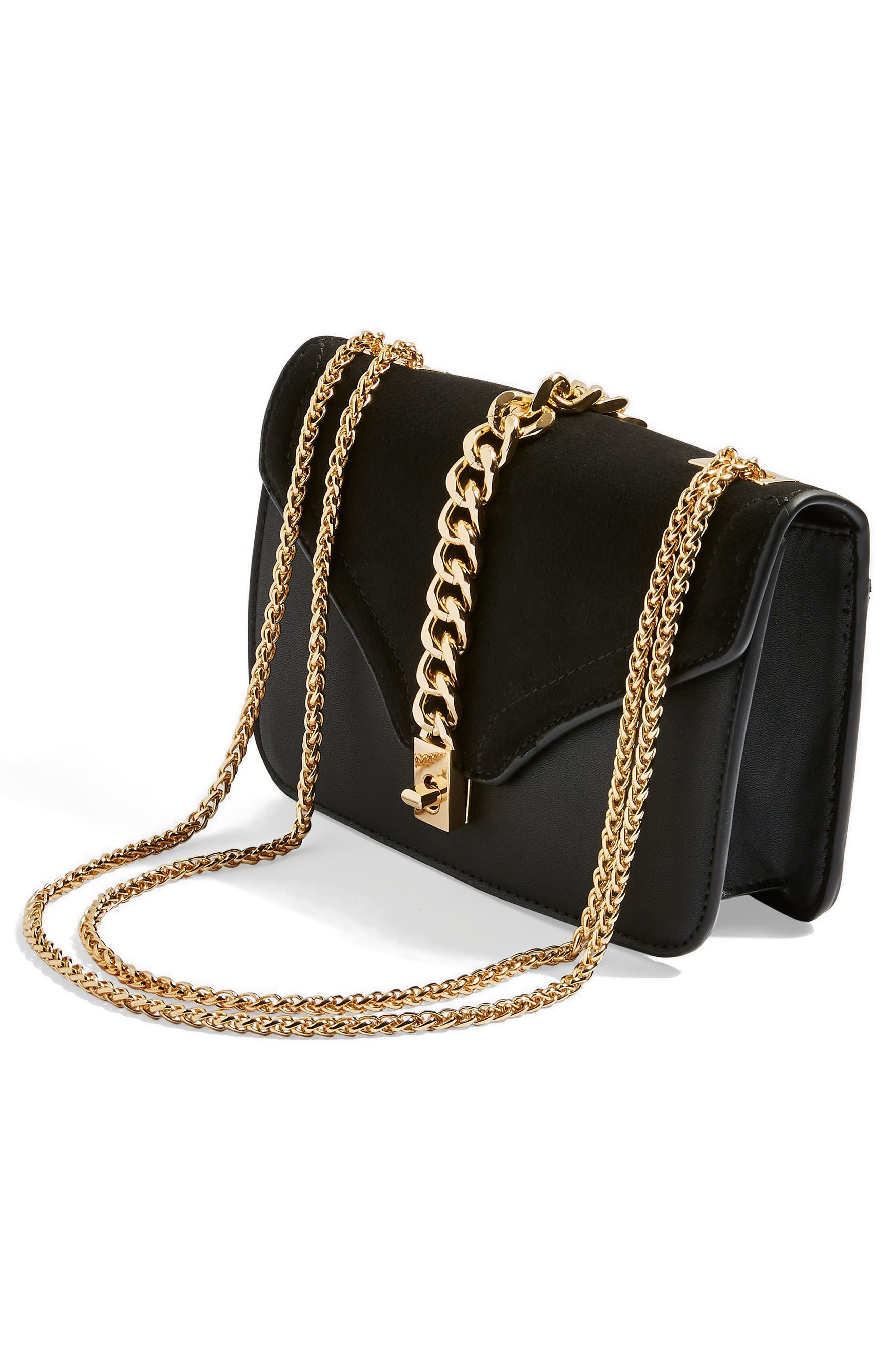 Daisy Chain Faux Leather Crossbody Bag,                             Alternate thumbnail 4, color,                             BLACK MULTI