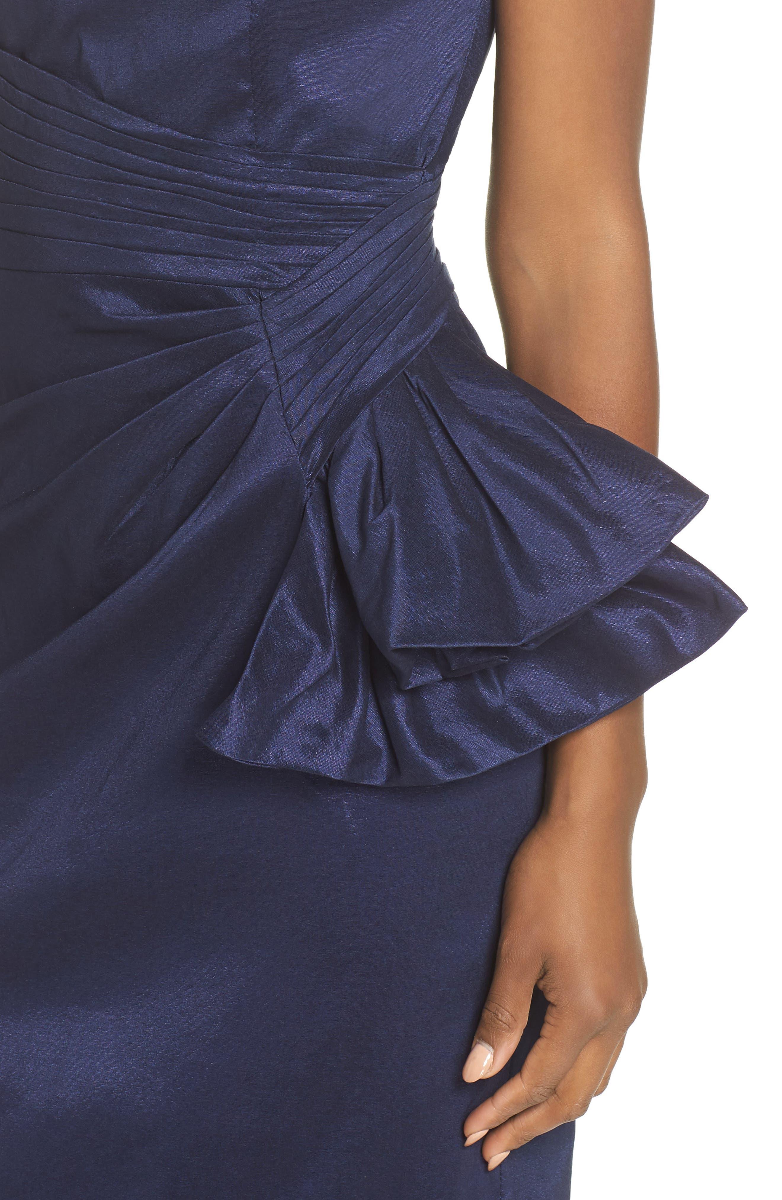 Off the Shoulder Bow Dress,                             Alternate thumbnail 4, color,                             NAVY