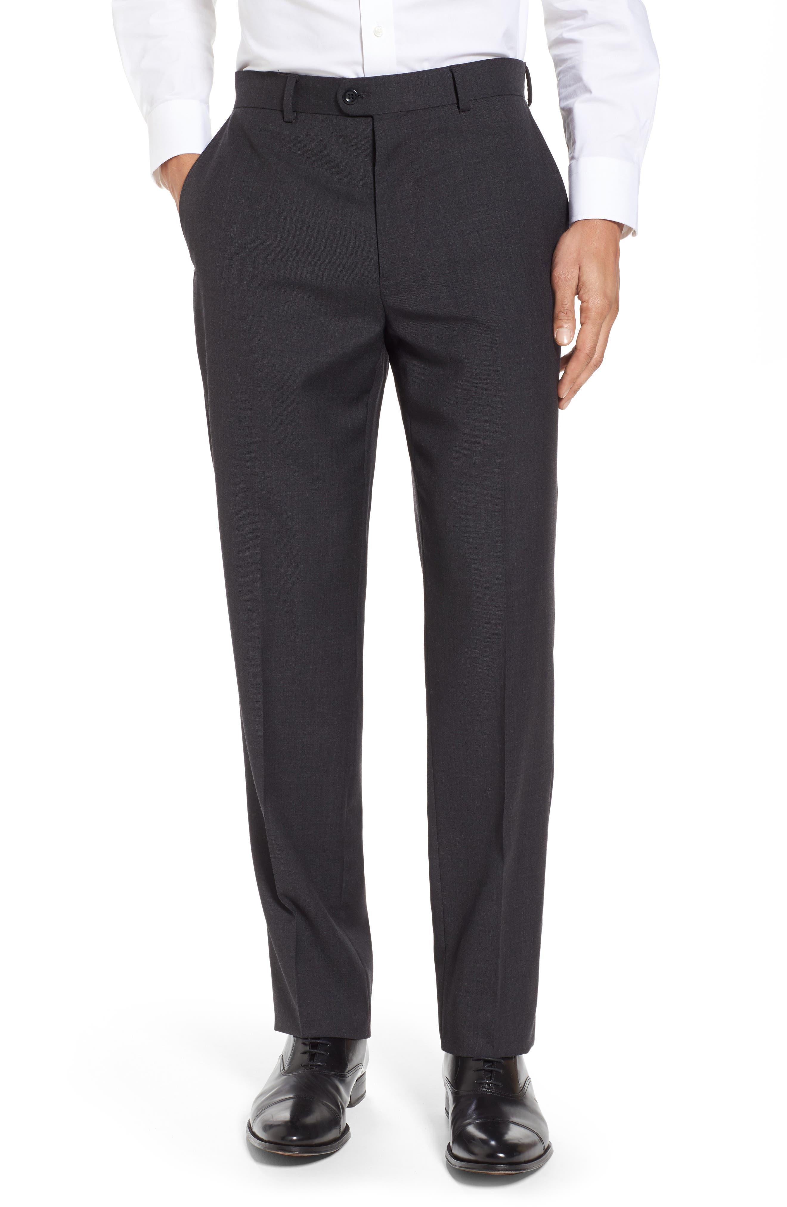 Gab Trim Fit Flat Front Pants,                         Main,                         color, 002