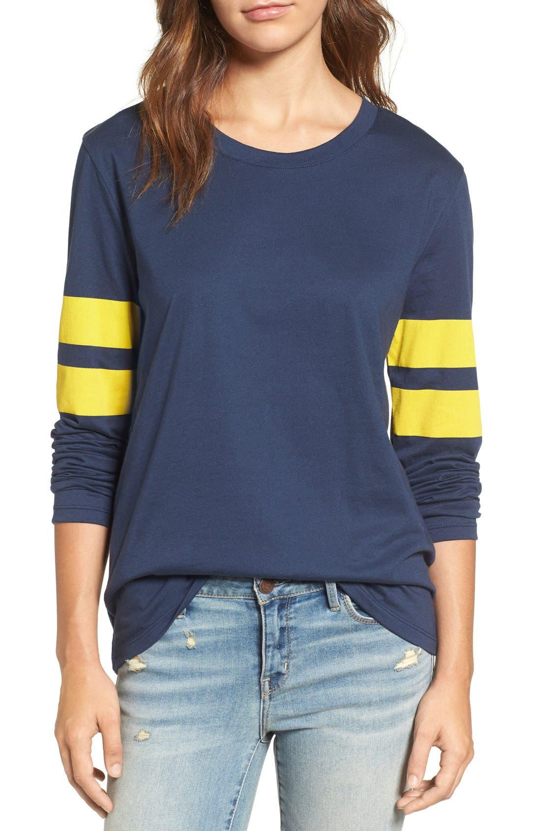 Varsity Stripe Cotton Tee,                             Main thumbnail 19, color,
