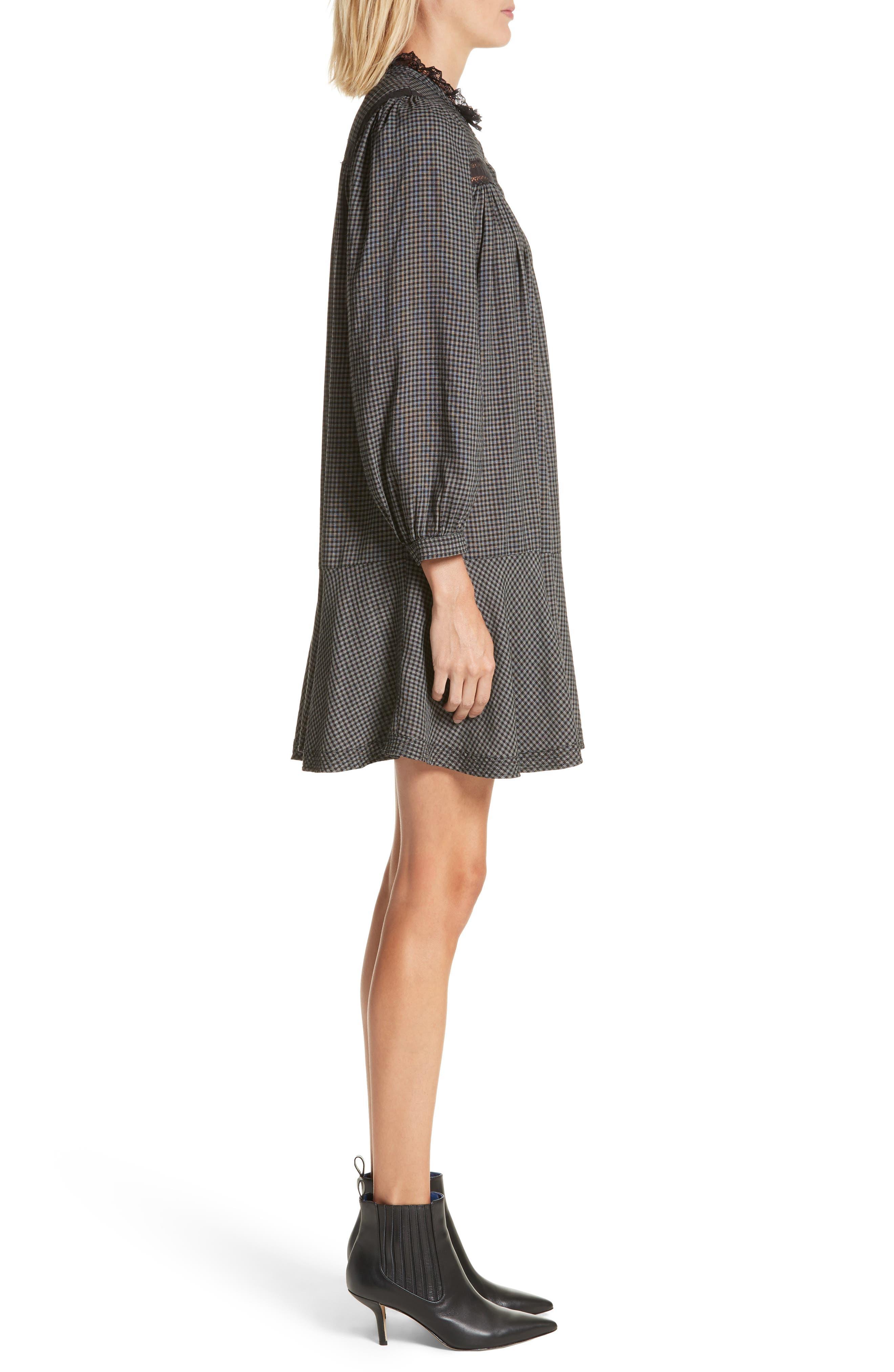 Drop Waist Plaid Dress,                             Alternate thumbnail 3, color,