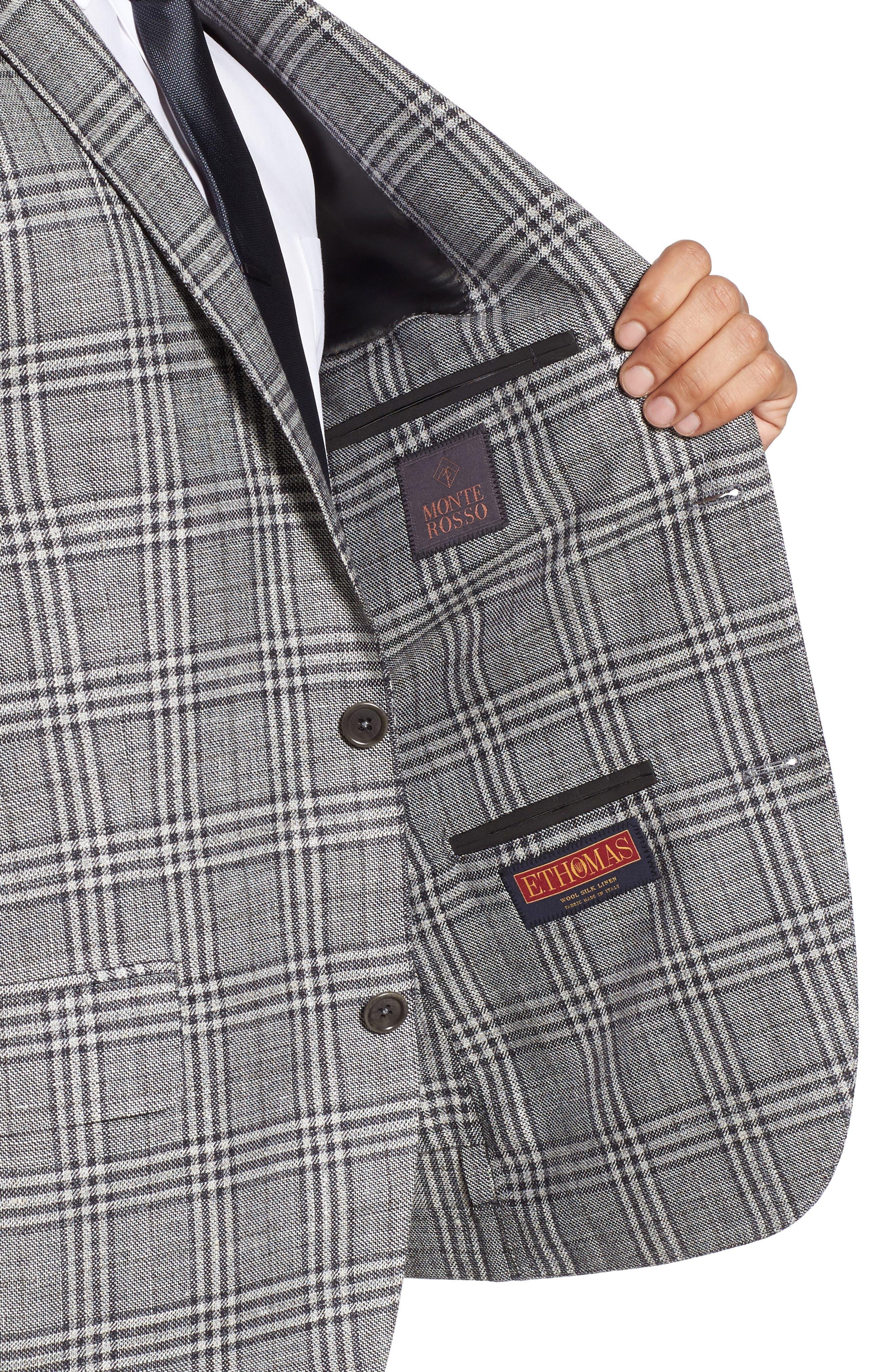 Trim Fit Plaid Wool Blend Sport Coat,                             Alternate thumbnail 4, color,                             030