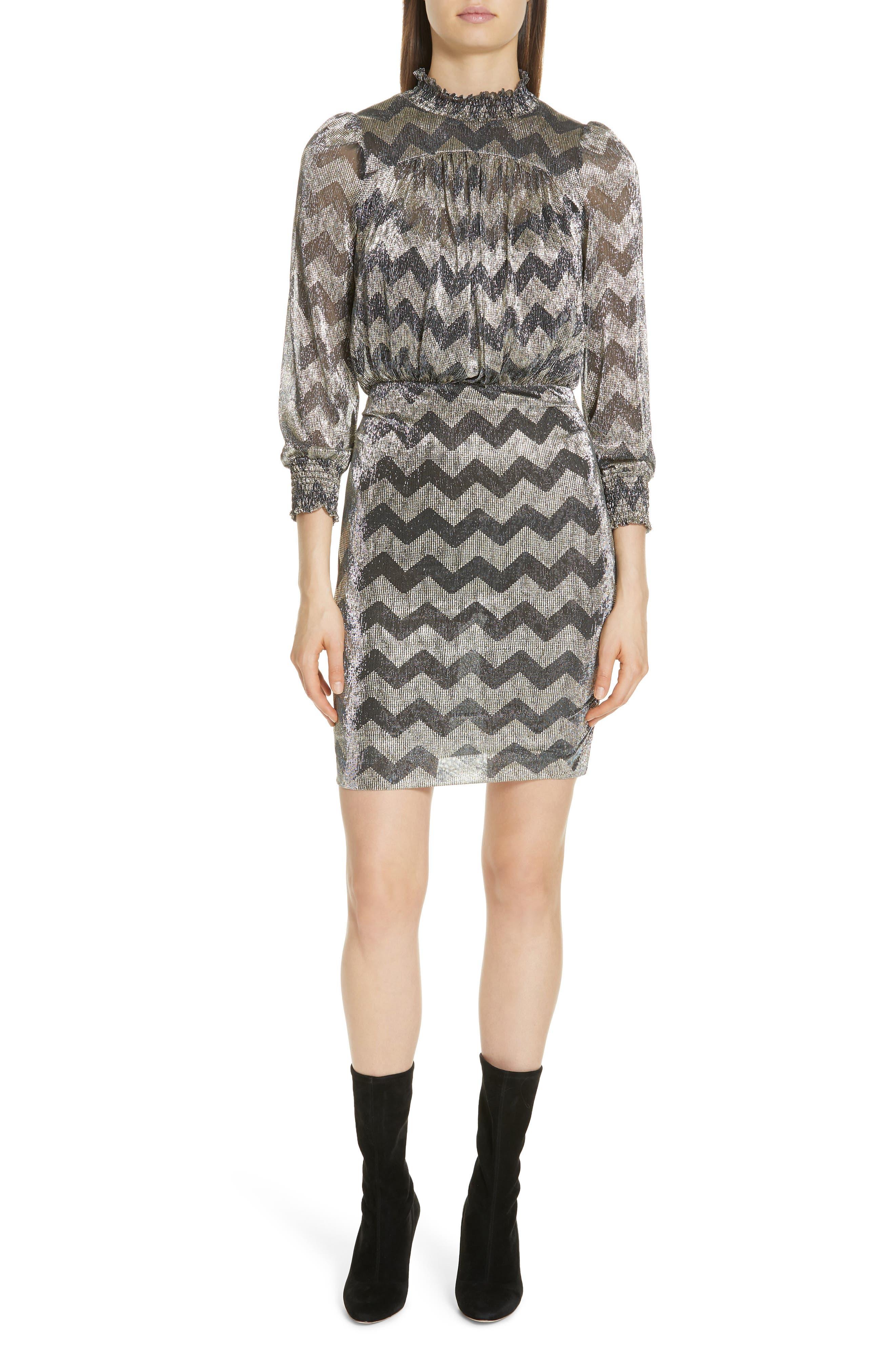Goldy Zigzag Metallic Stripe Dress,                             Main thumbnail 1, color,                             ANTHRACITE