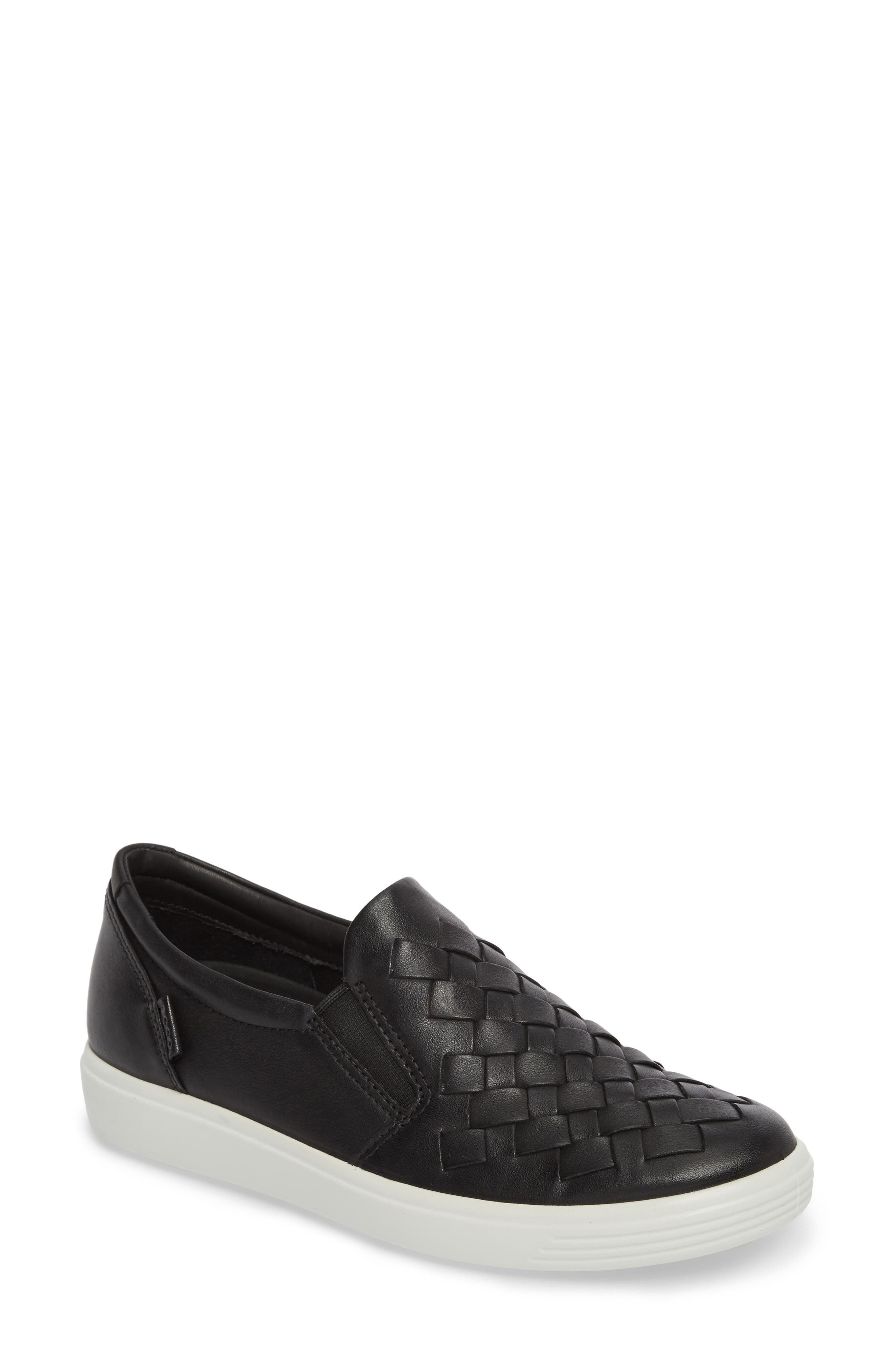 ECO Soft 7 Woven Slip-On Sneaker,                             Main thumbnail 1, color,                             BLACK LEATHER
