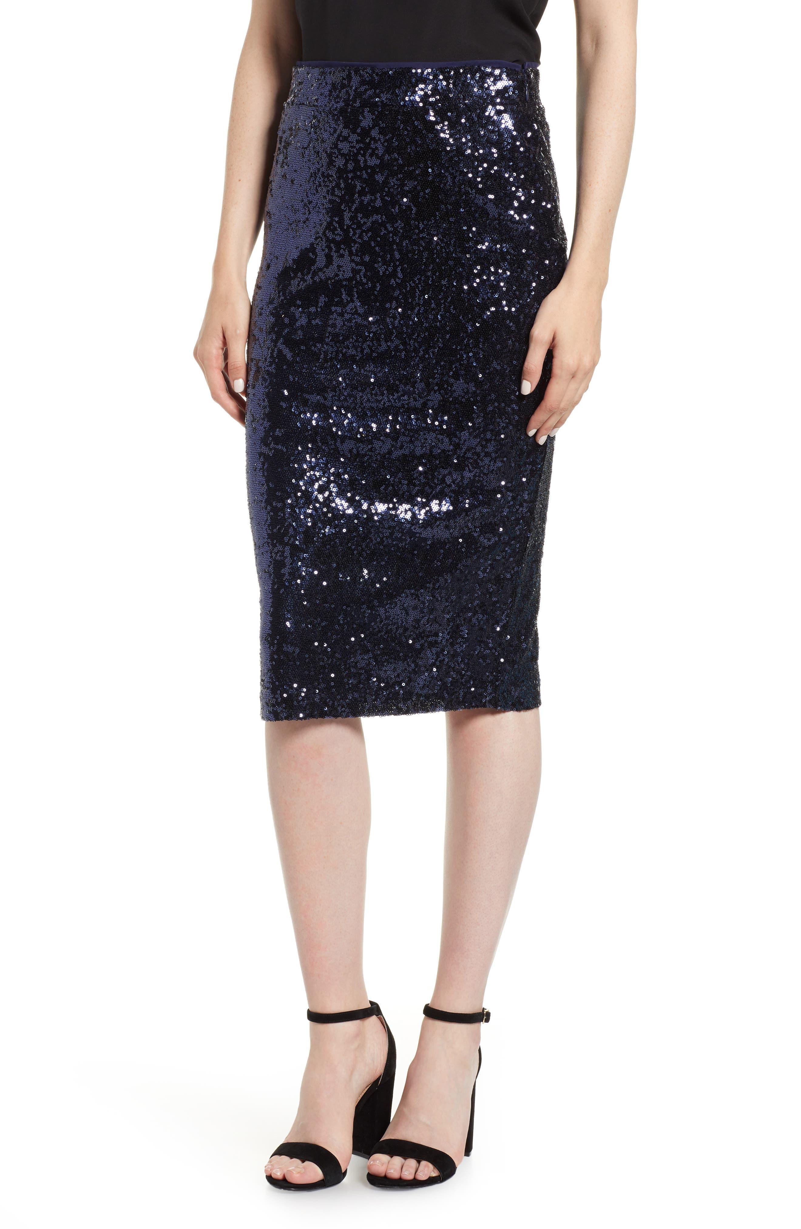 Sequin Pencil Skirt,                             Main thumbnail 1, color,                             NAVY MINI SEQUINS
