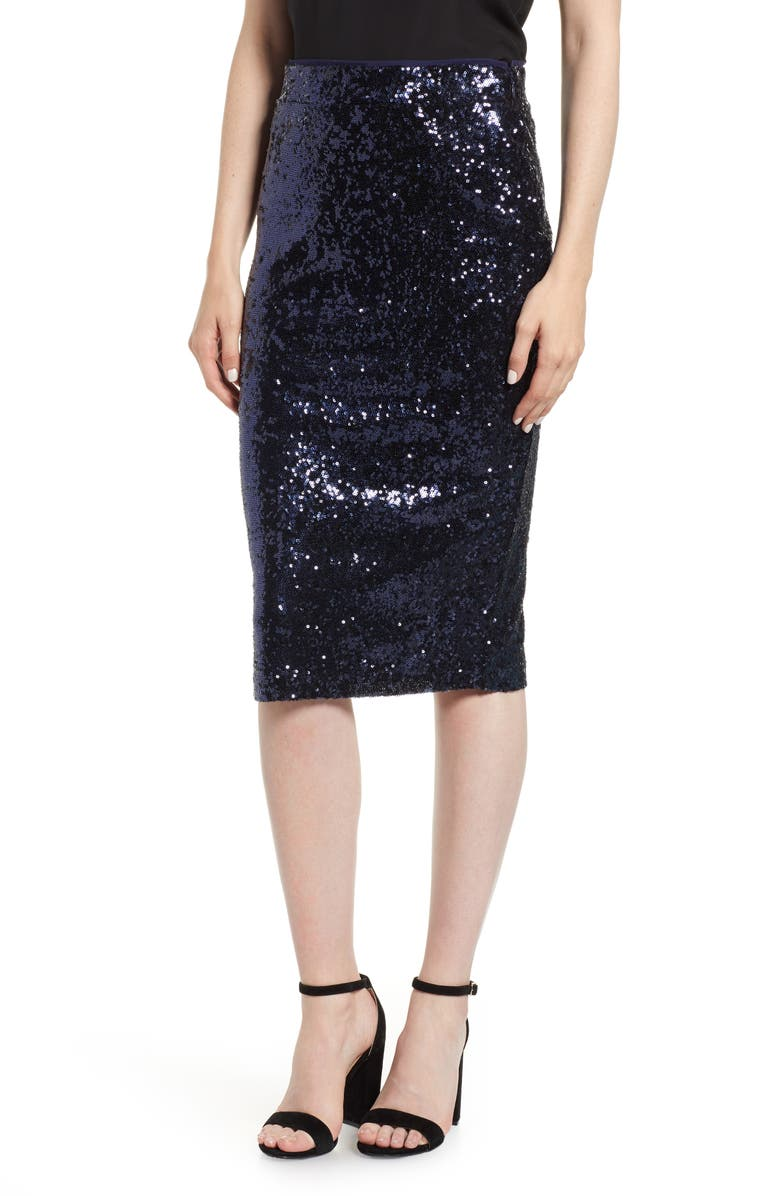 Sequin Pencil Skirt,                         Main,                         color, NAVY MINI SEQUINS