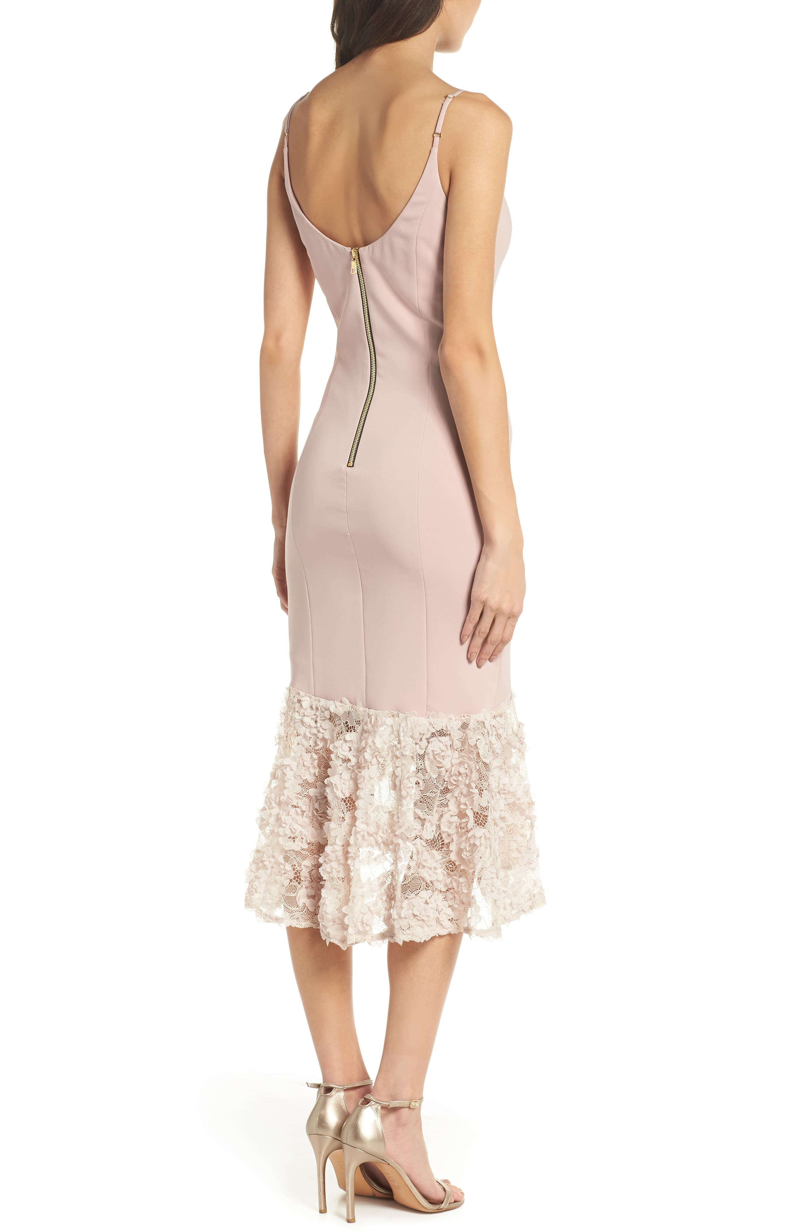 Milly Lace Flounce Slipdress,                             Alternate thumbnail 4, color,