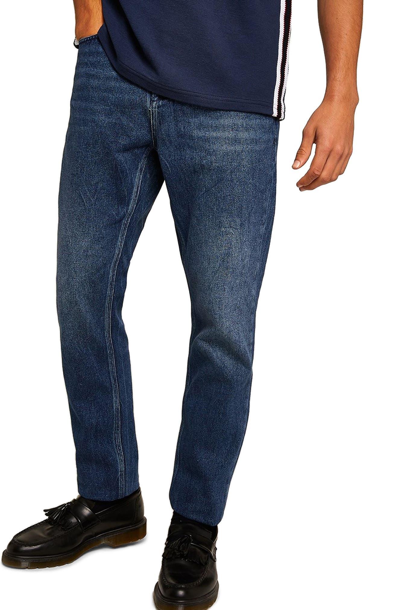 Cupid Rigid Taper Jeans,                         Main,                         color, DARK BLUE