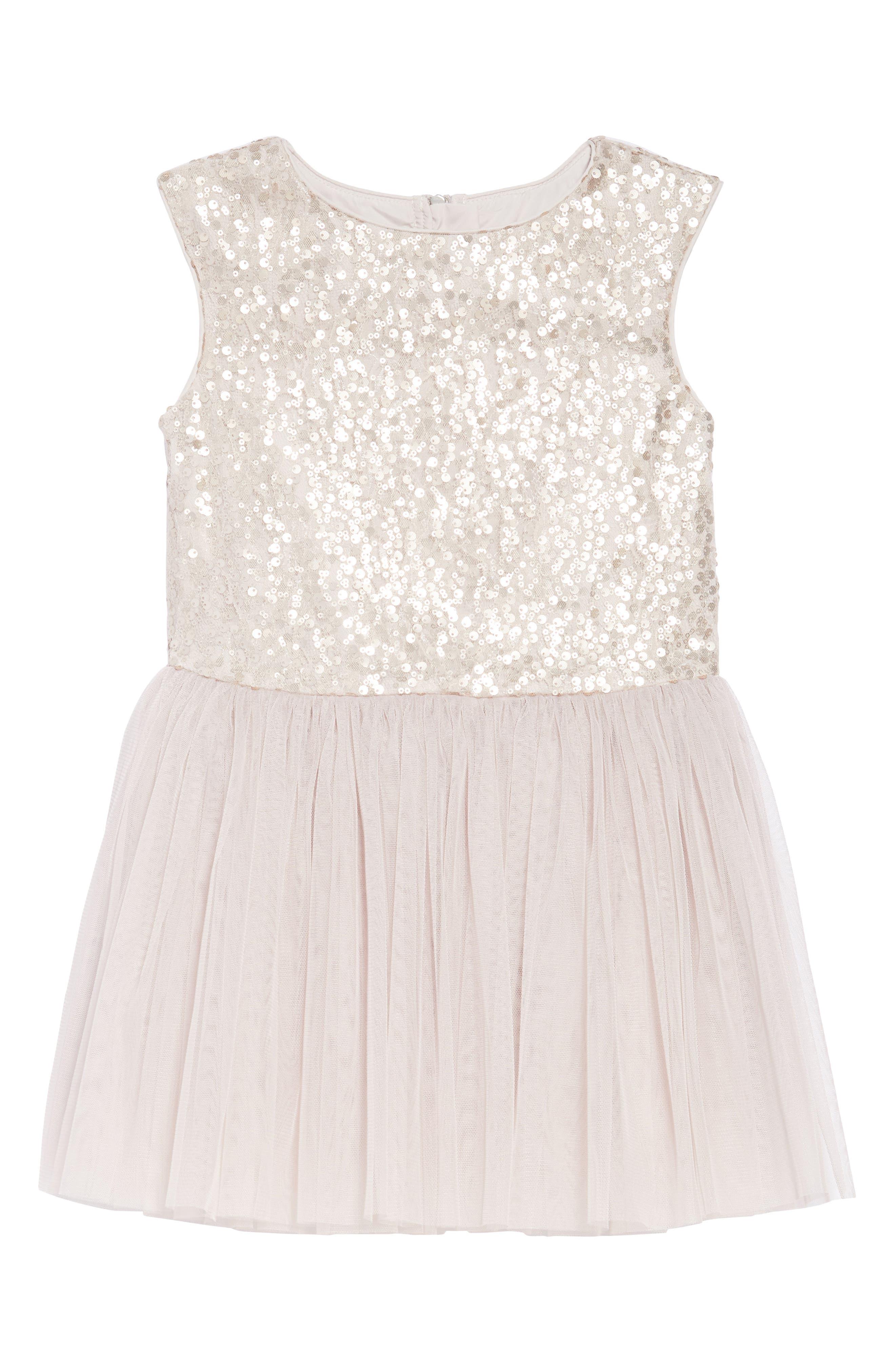 Sequin & Tulle Dress,                             Main thumbnail 1, color,                             650