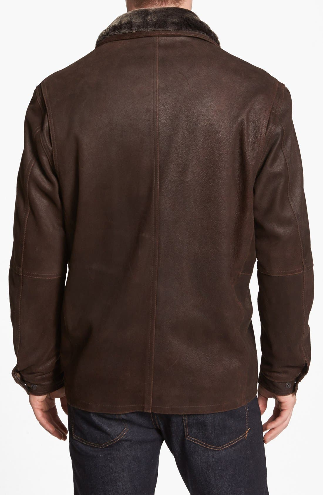 Double Collar Leather Jacket,                             Alternate thumbnail 3, color,                             236