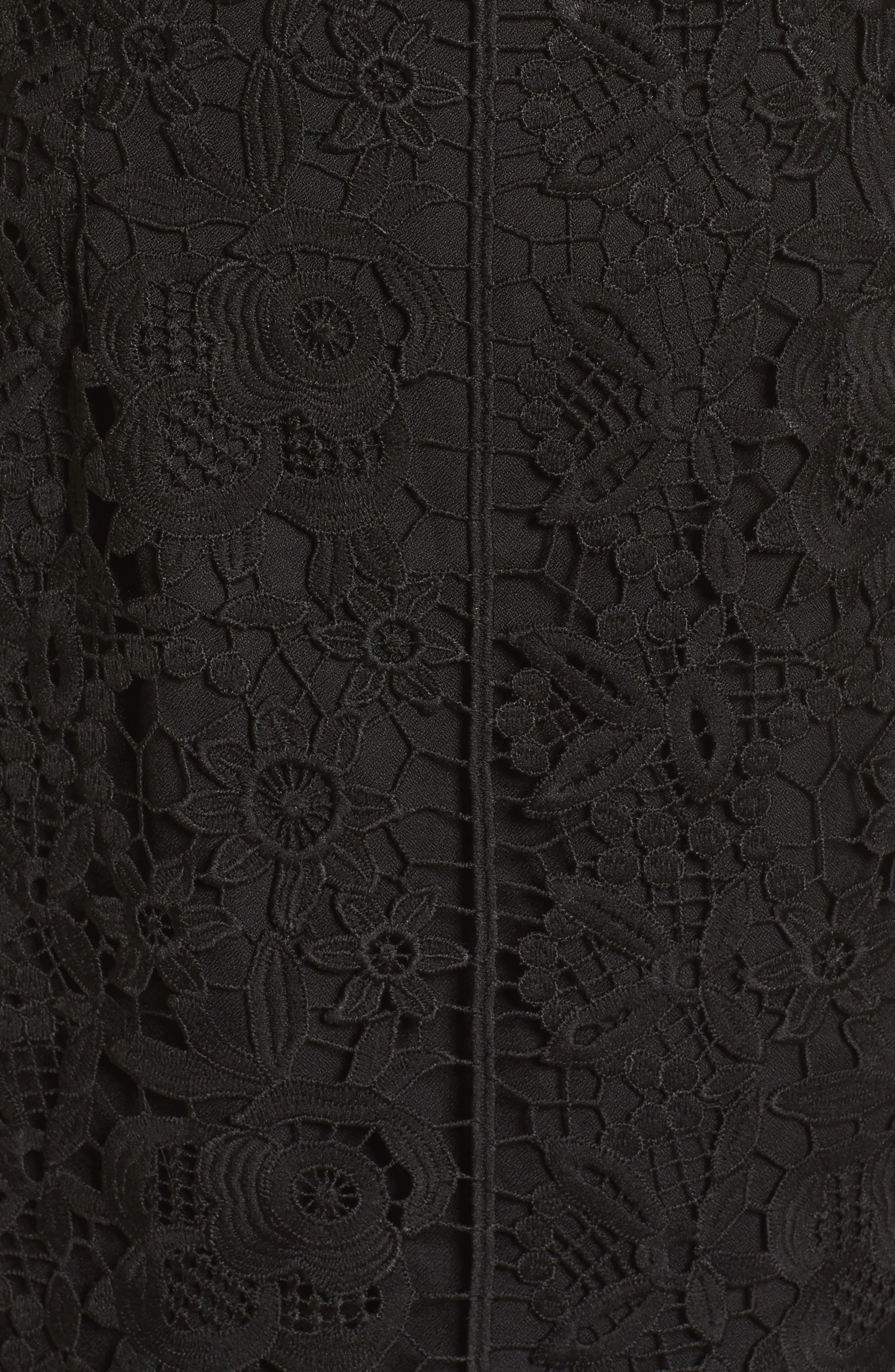 Xenia Strapless Lace Midi Dress,                             Alternate thumbnail 5, color,                             001
