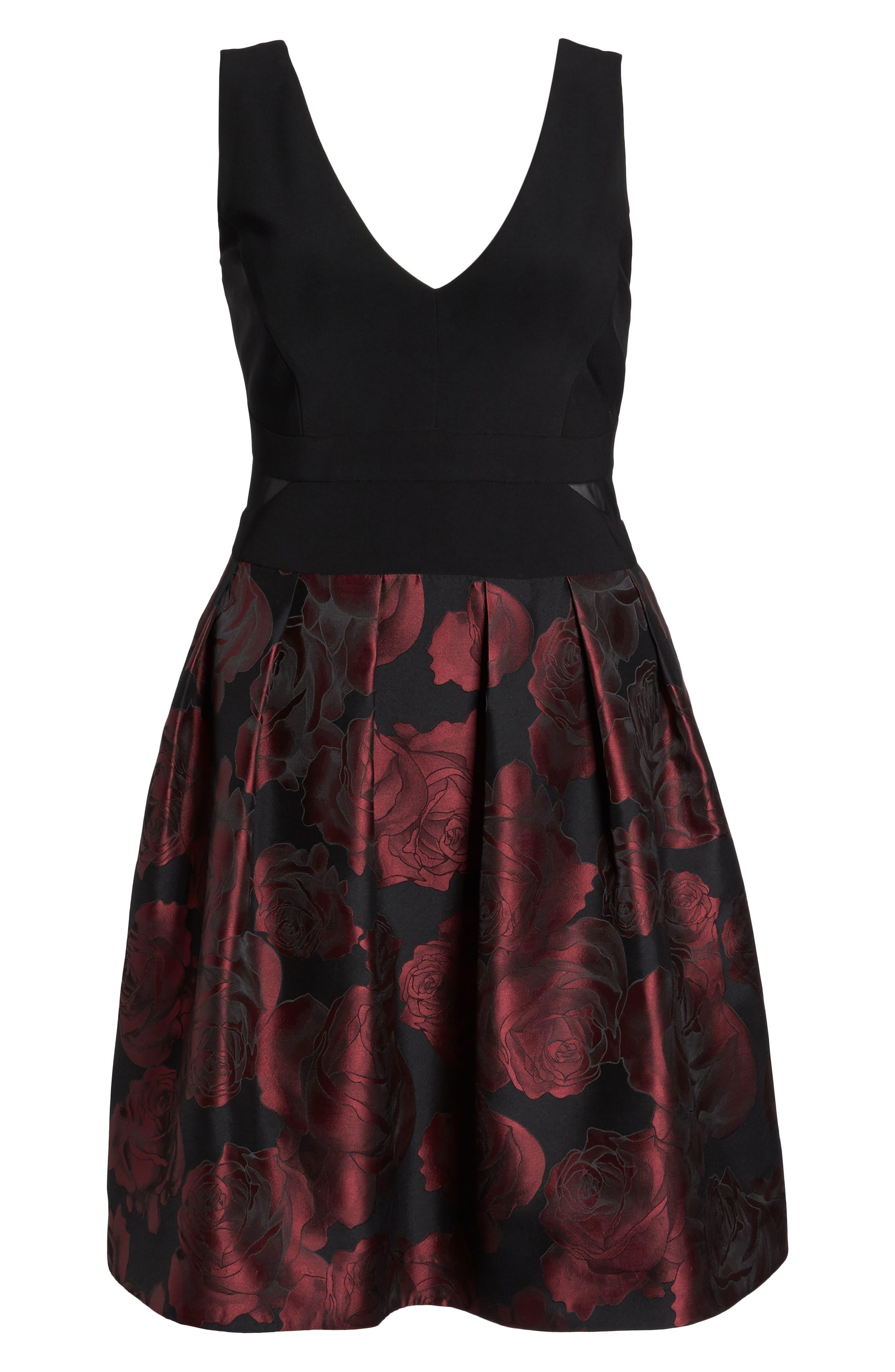 Floral Brocade Fit & Flare Dress,                             Alternate thumbnail 6, color,                             009