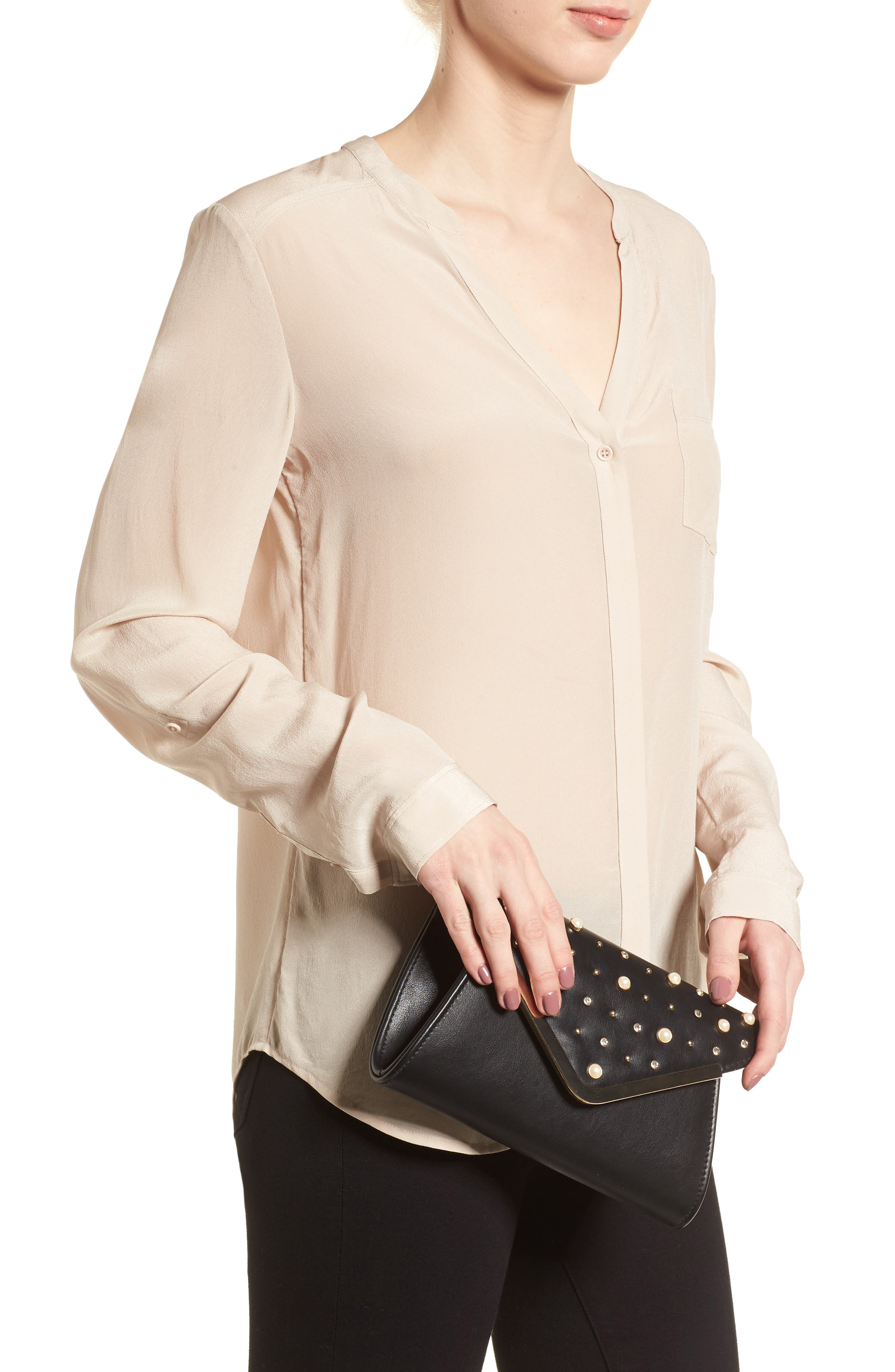 Studded Faux Leather Clutch,                             Alternate thumbnail 2, color,                             001