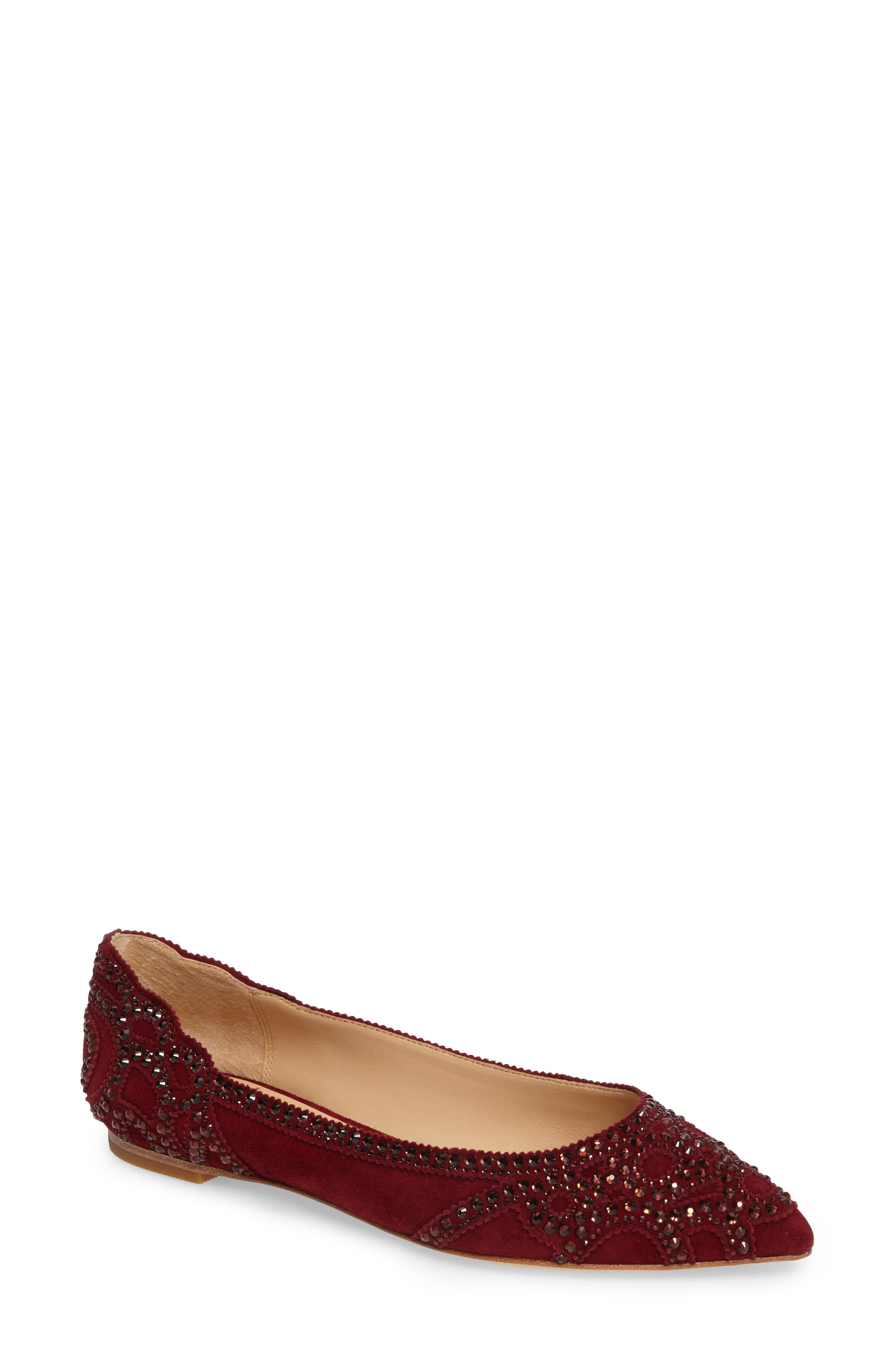 Gigi Crystal Pointy Toe Flat,                             Main thumbnail 3, color,