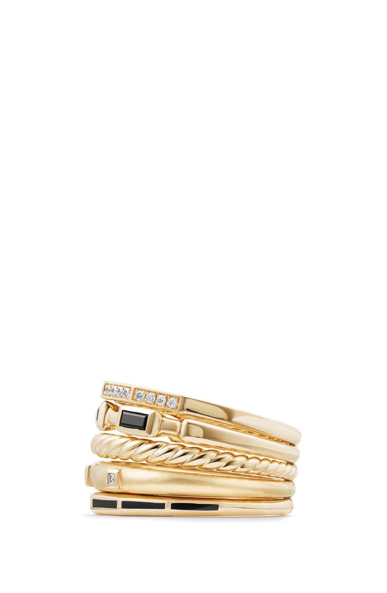 Stax Ring with Black Spinel, Black Enamel & Diamond in 18K Gold, 13mm,                             Alternate thumbnail 2, color,                             BLACK SPINEL