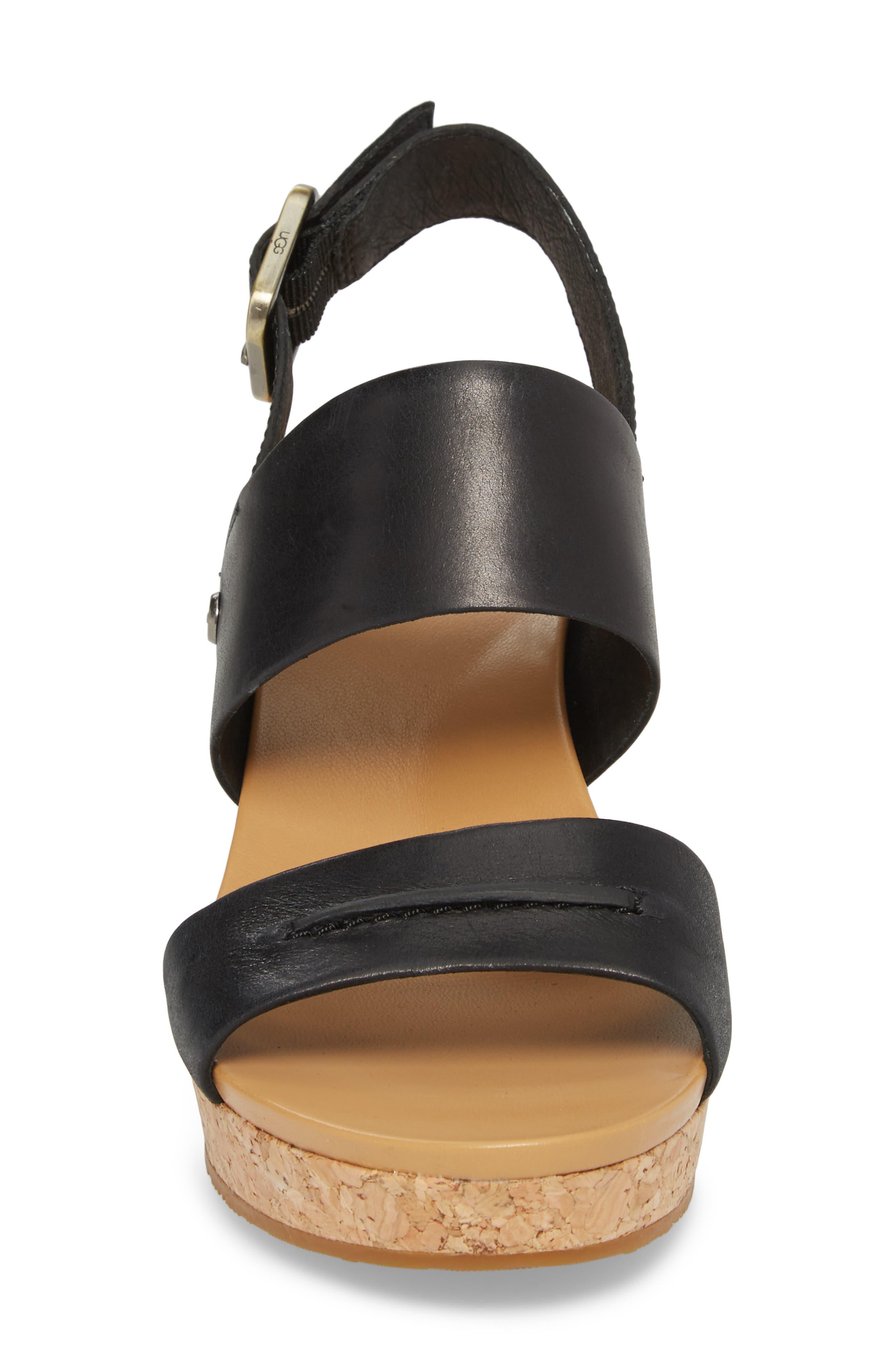 Elena II Platform Wedge Sandal,                             Alternate thumbnail 4, color,                             001