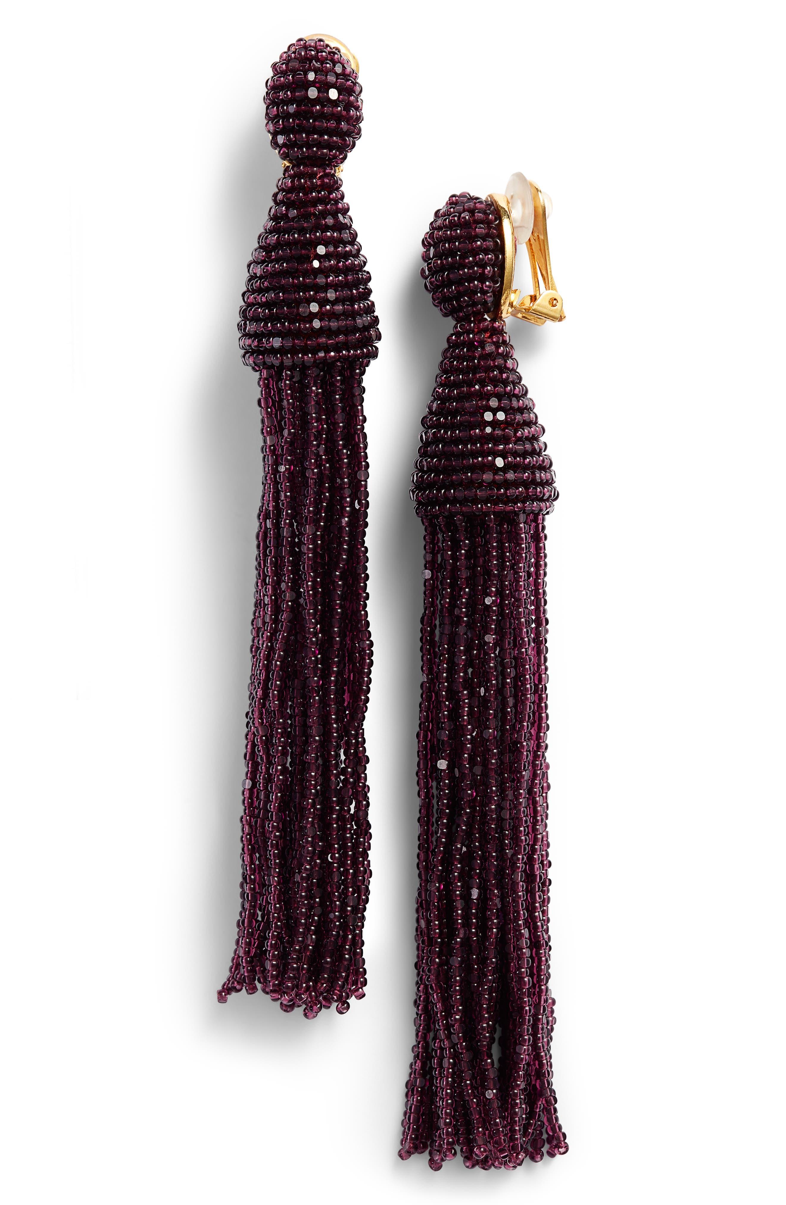 Long Beaded Tassel Drop Earrings,                             Main thumbnail 1, color,                             505