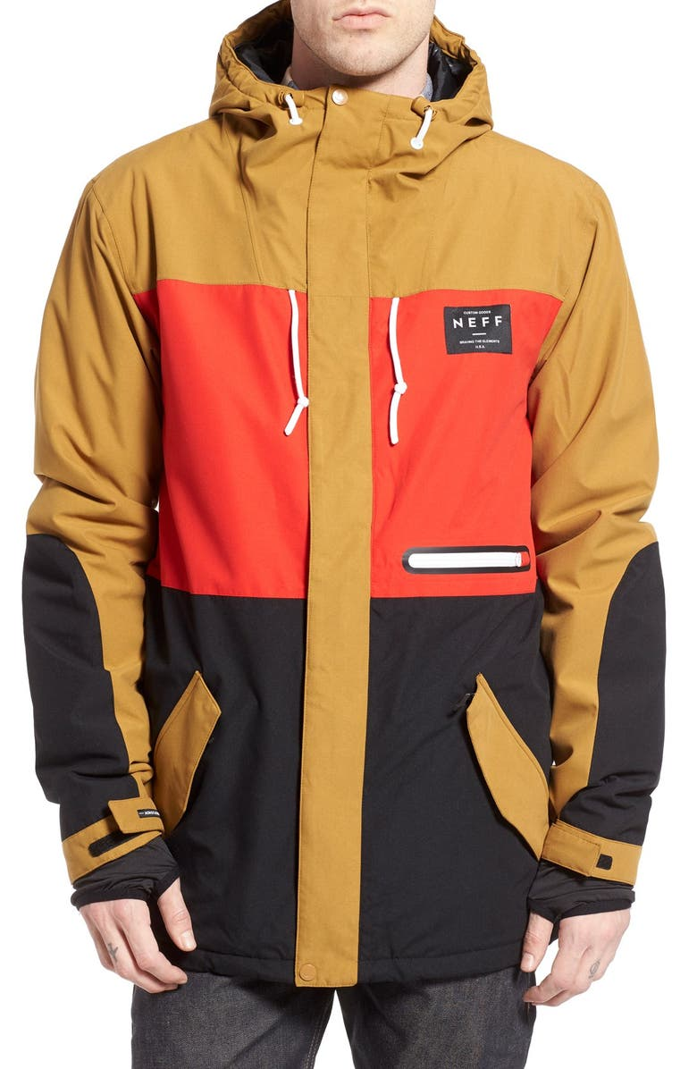 1992aa406 Neff  Trifecta  Water Resistant Colorblock Snowboard Jacket