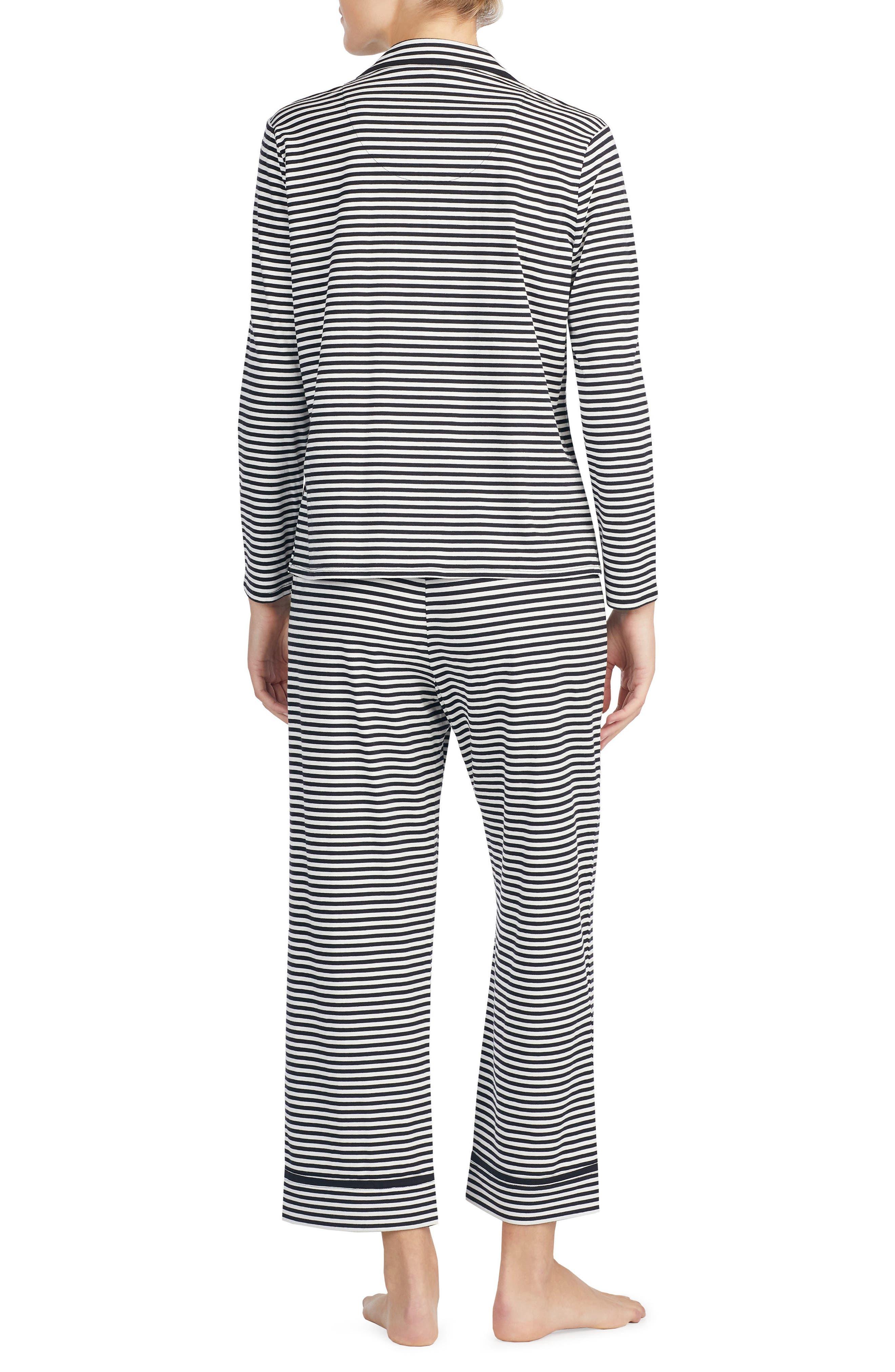 stripe crop jersey pajamas,                             Alternate thumbnail 2, color,                             010