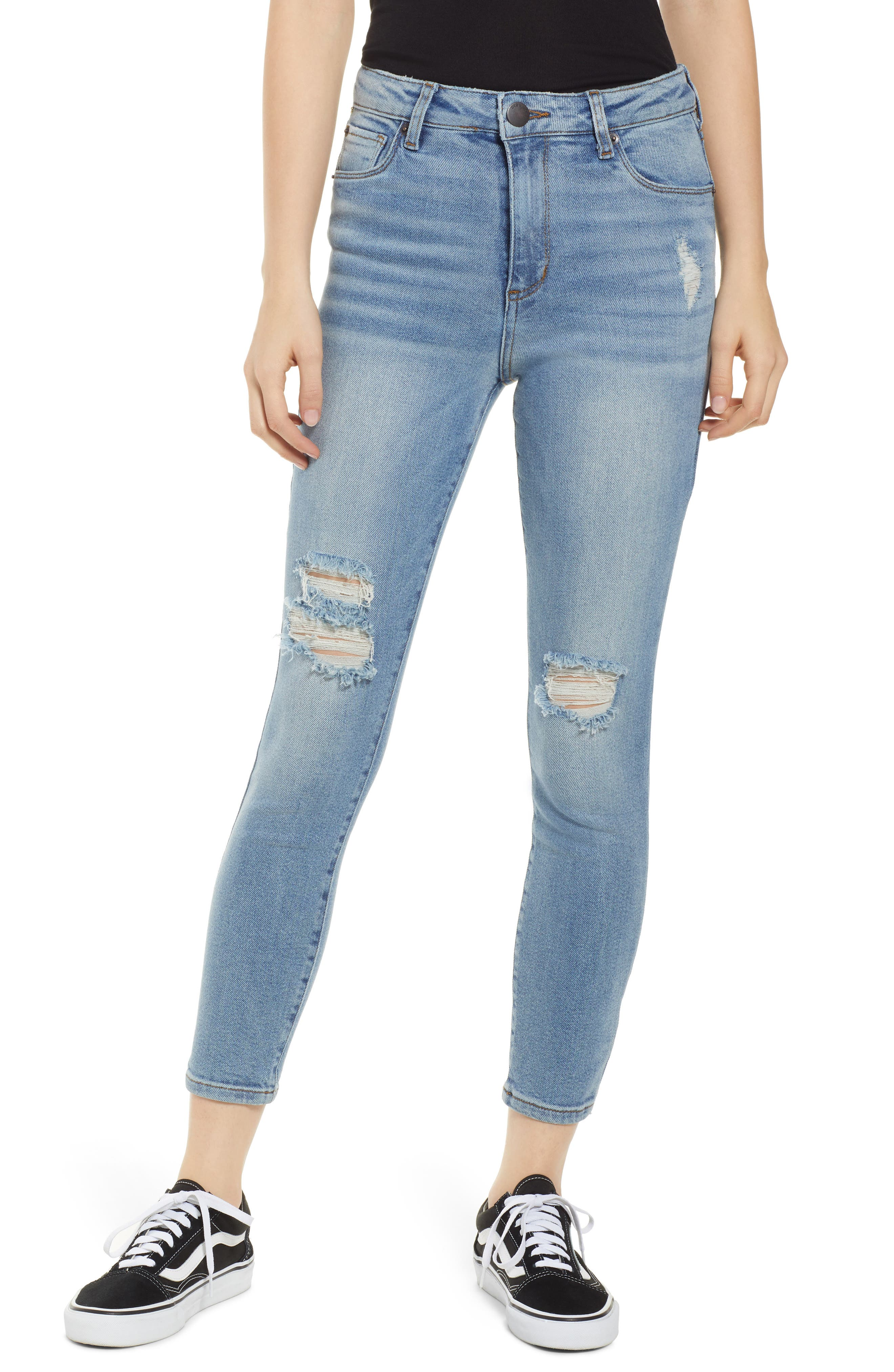 Brie High Waist Ripped Skinny Jeans,                             Main thumbnail 1, color,                             BRADFORD LIGHT WASH