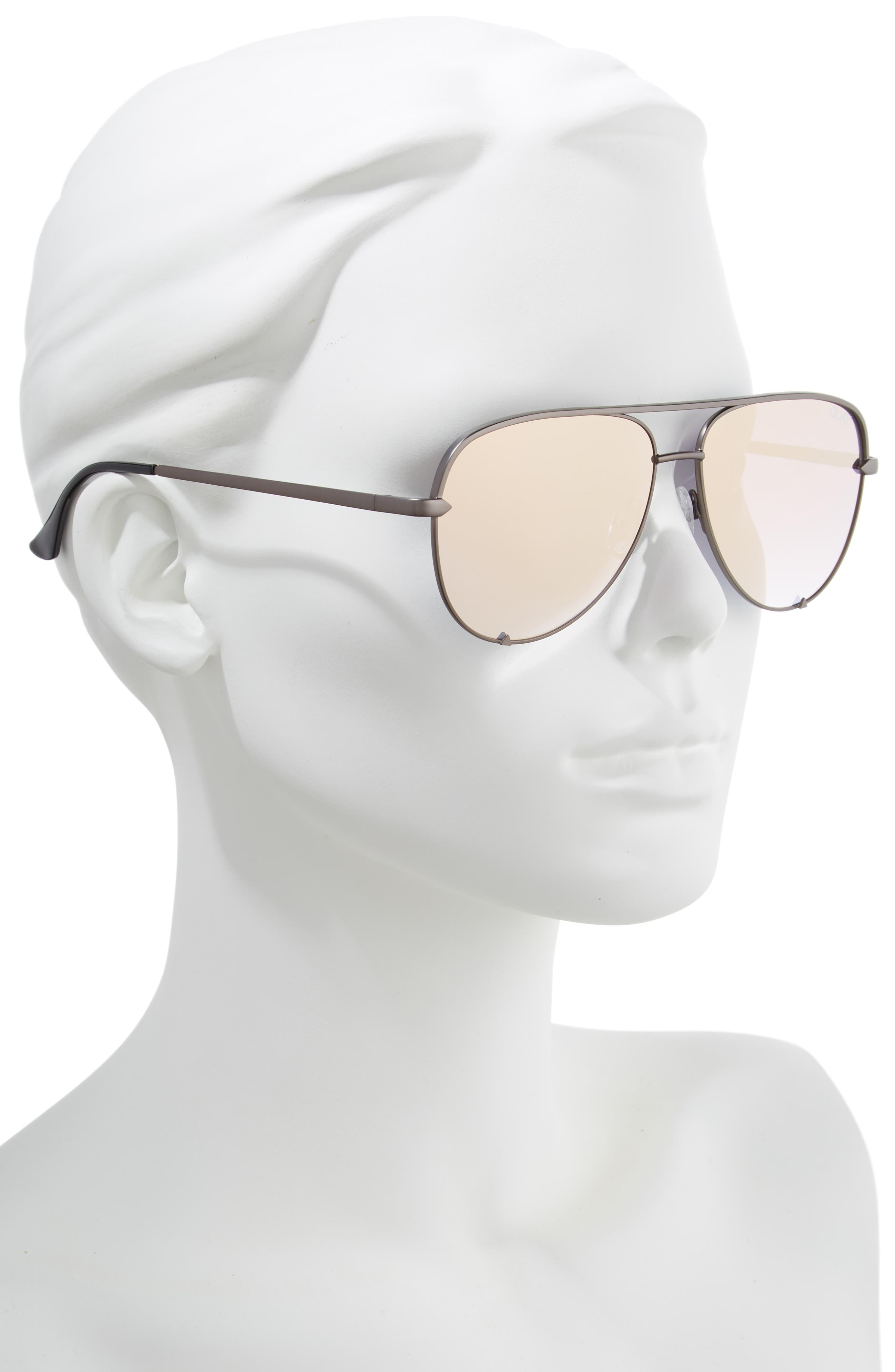x Desi Perkins High Key Mini 57mm Aviator Sunglasses,                             Alternate thumbnail 2, color,                             GUNMETAL/ ROSE
