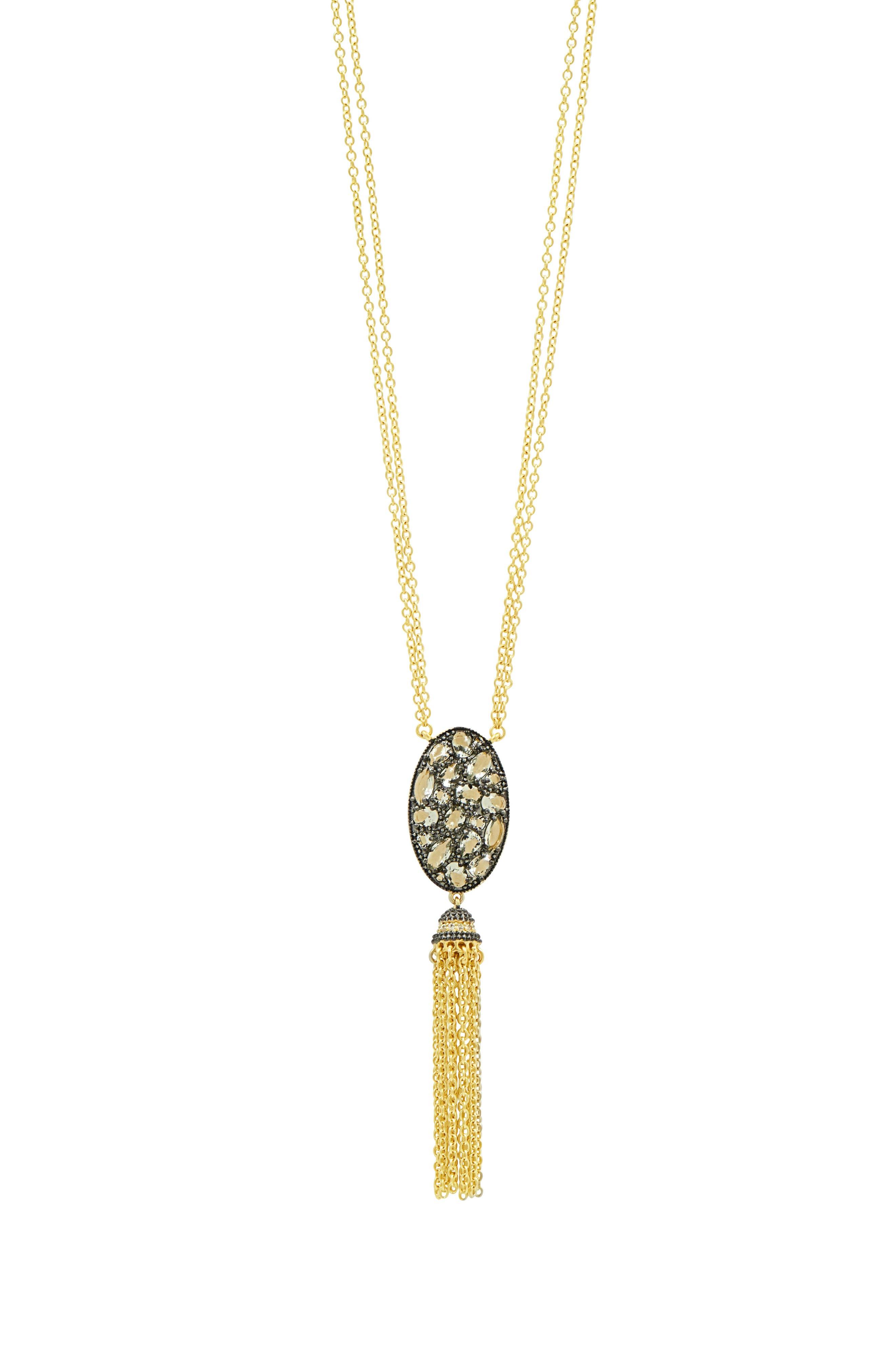 Rose Dor Tassel Pendant Necklace,                             Main thumbnail 1, color,                             BLACK/ GOLD