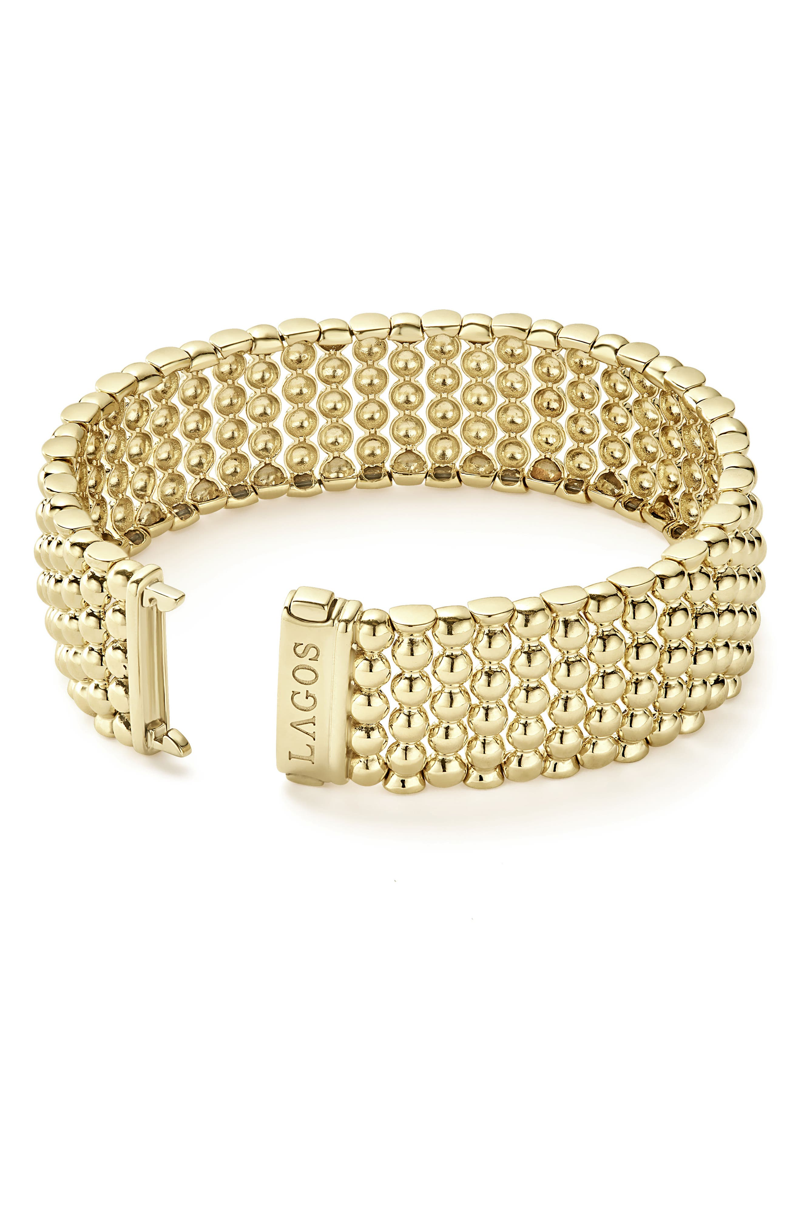 LAGOS,                             Caviar Gold Bold Wide Rope Bracelet,                             Alternate thumbnail 3, color,                             GOLD