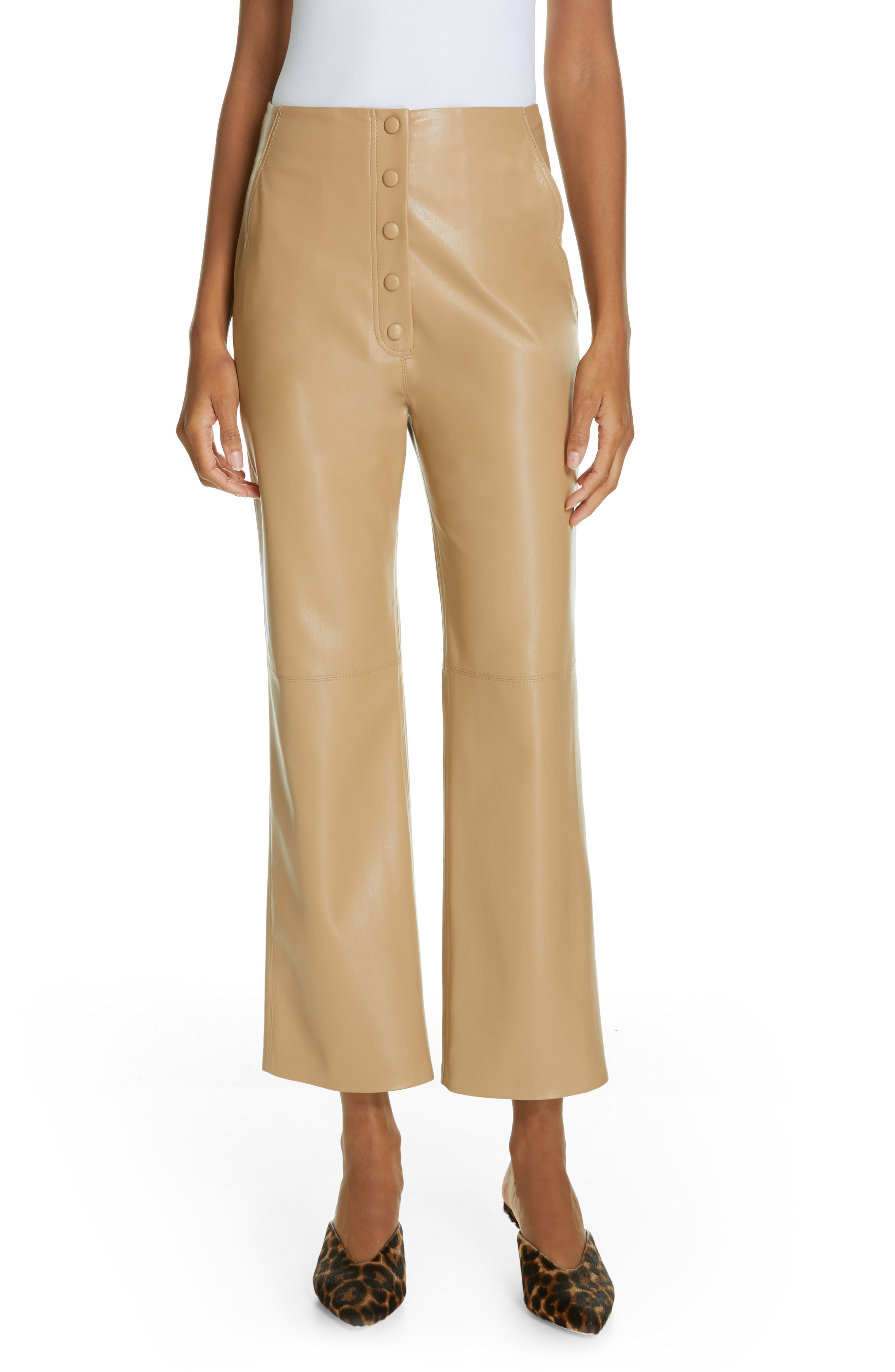 Nanushka Sora Faux Leather Crop Flare Pants, Brown