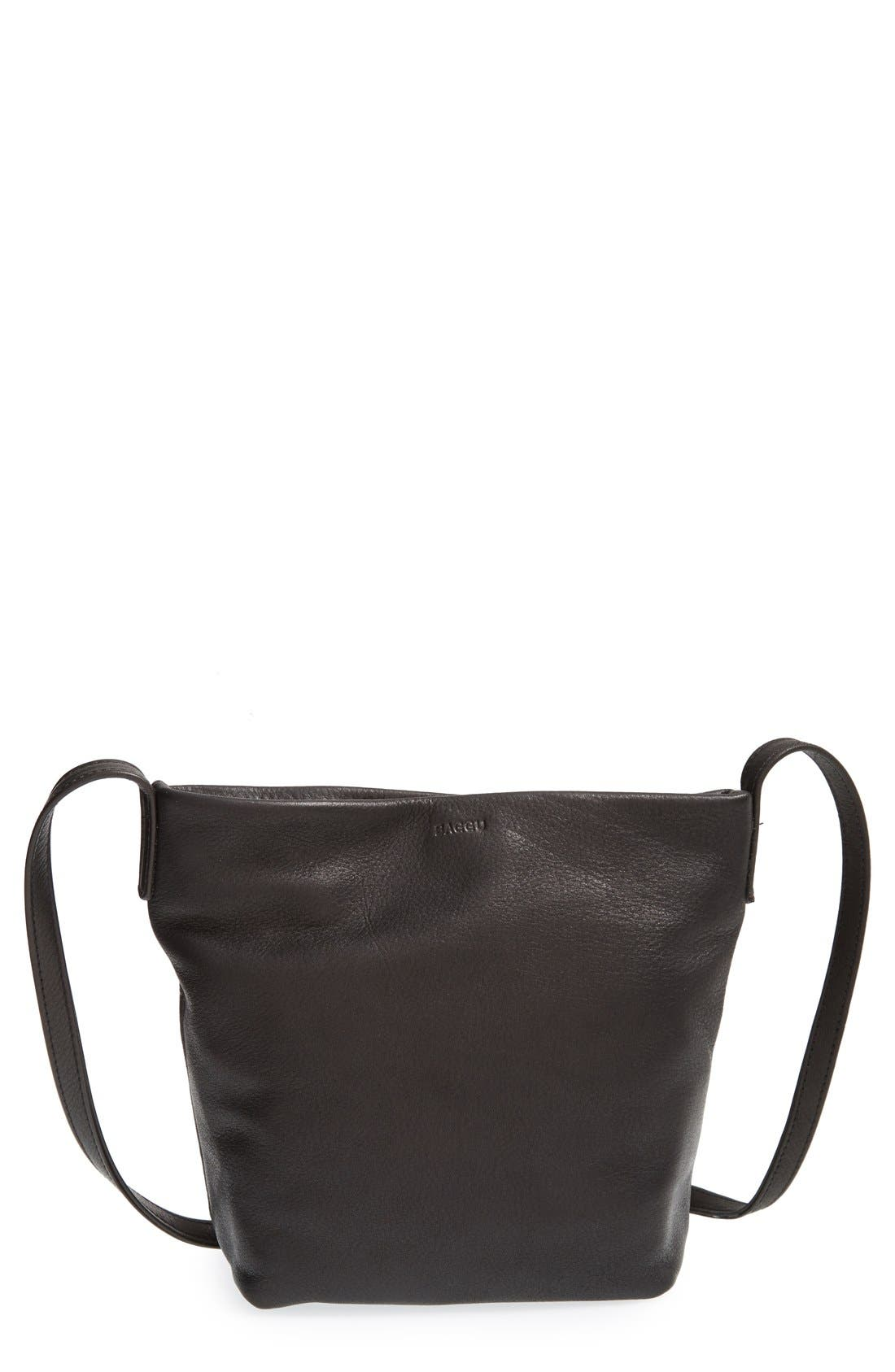 BAGGU,                              Leather Crossbody Bag,                             Main thumbnail 1, color,                             004