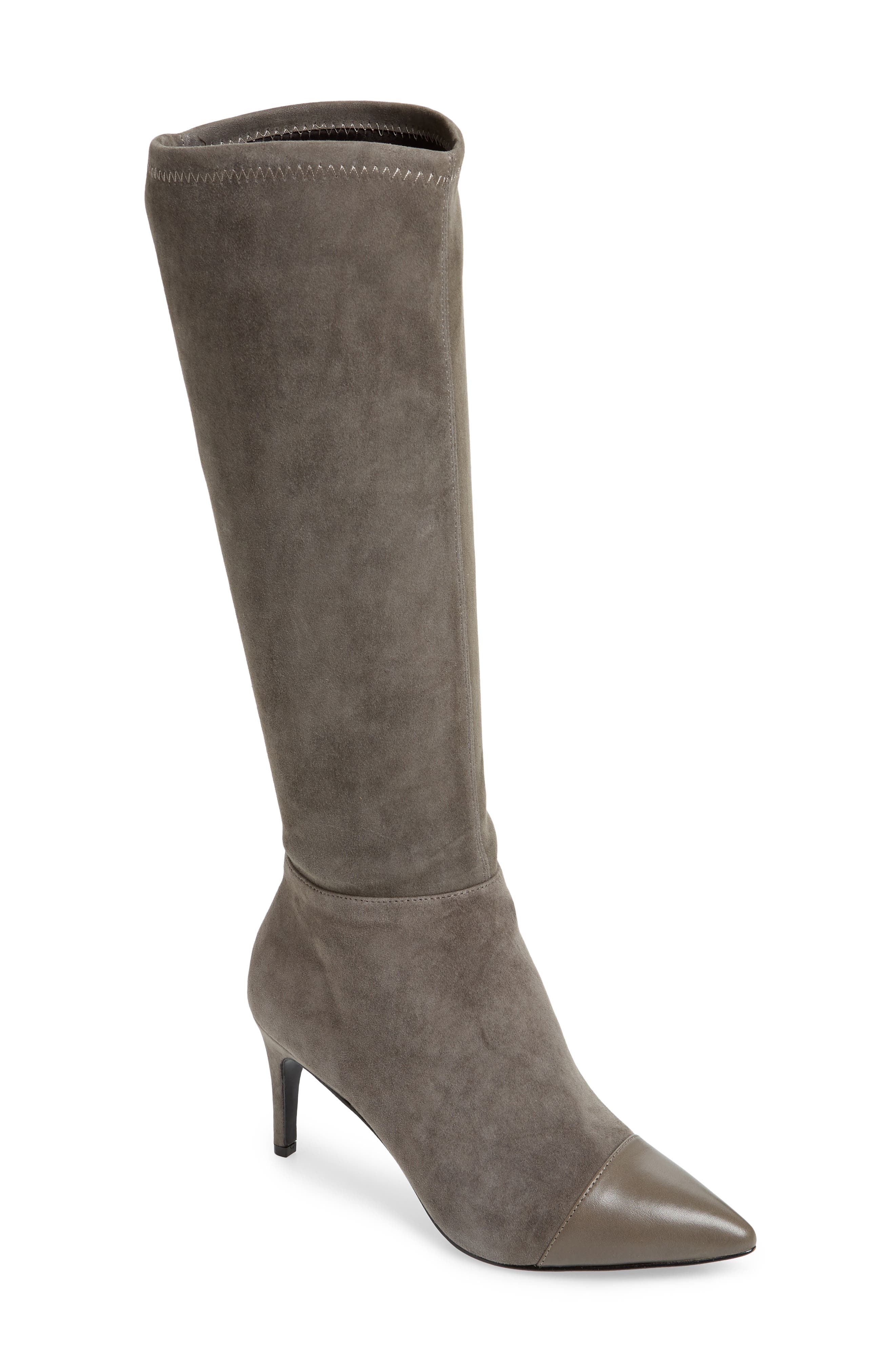 CHARLES DAVID Women'S Parish Pointed Toe Suede & Leather Boots in Gray