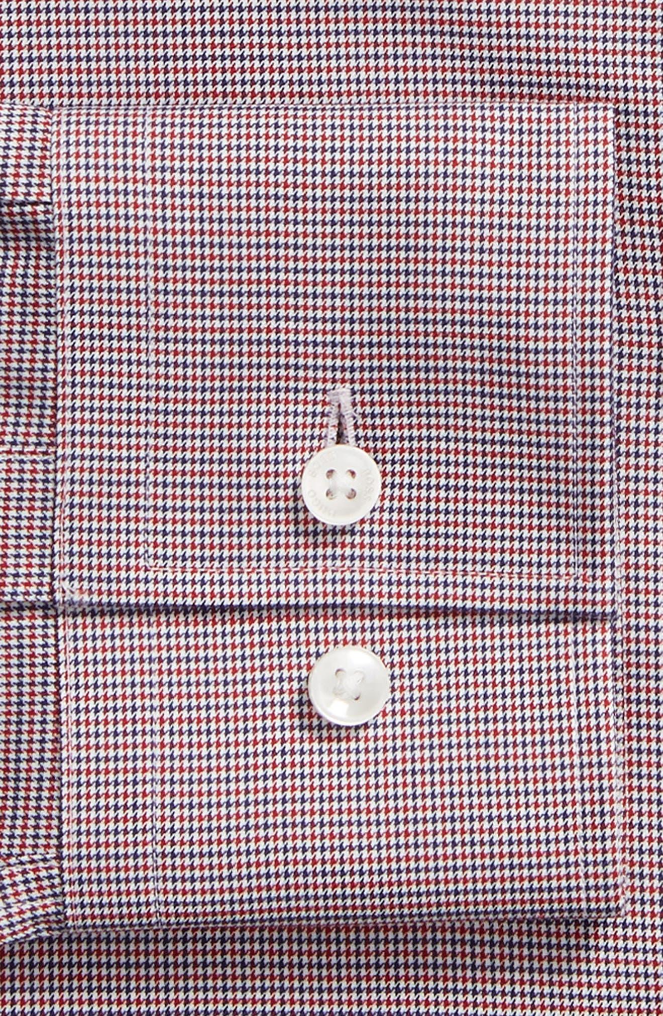Jason Slim Fit Houndstooth Dress Shirt,                             Alternate thumbnail 6, color,                             RED