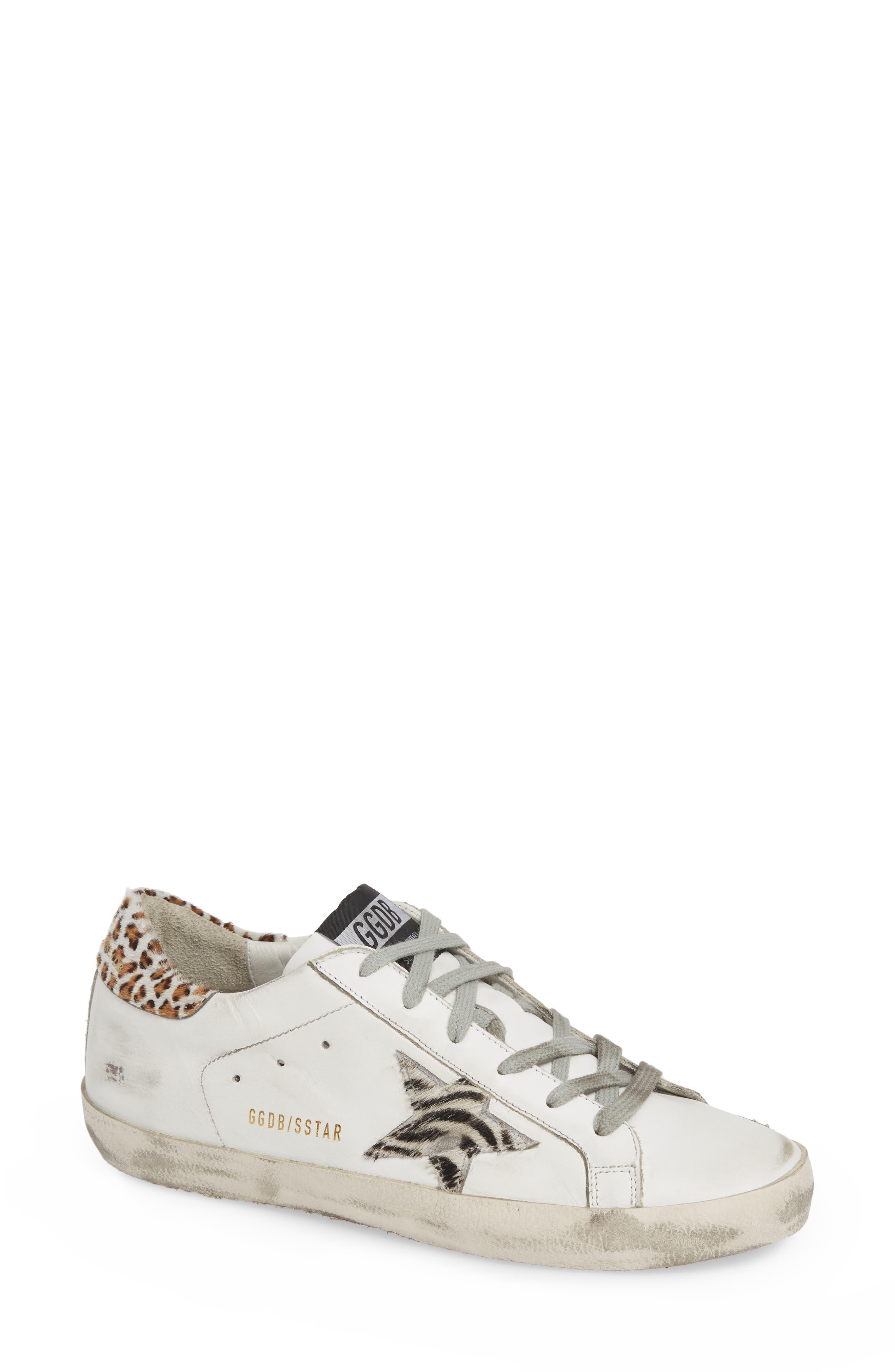 Superstar Genuine Calf Hair Sneaker,                         Main,                         color, WHITE/ ZEBRA