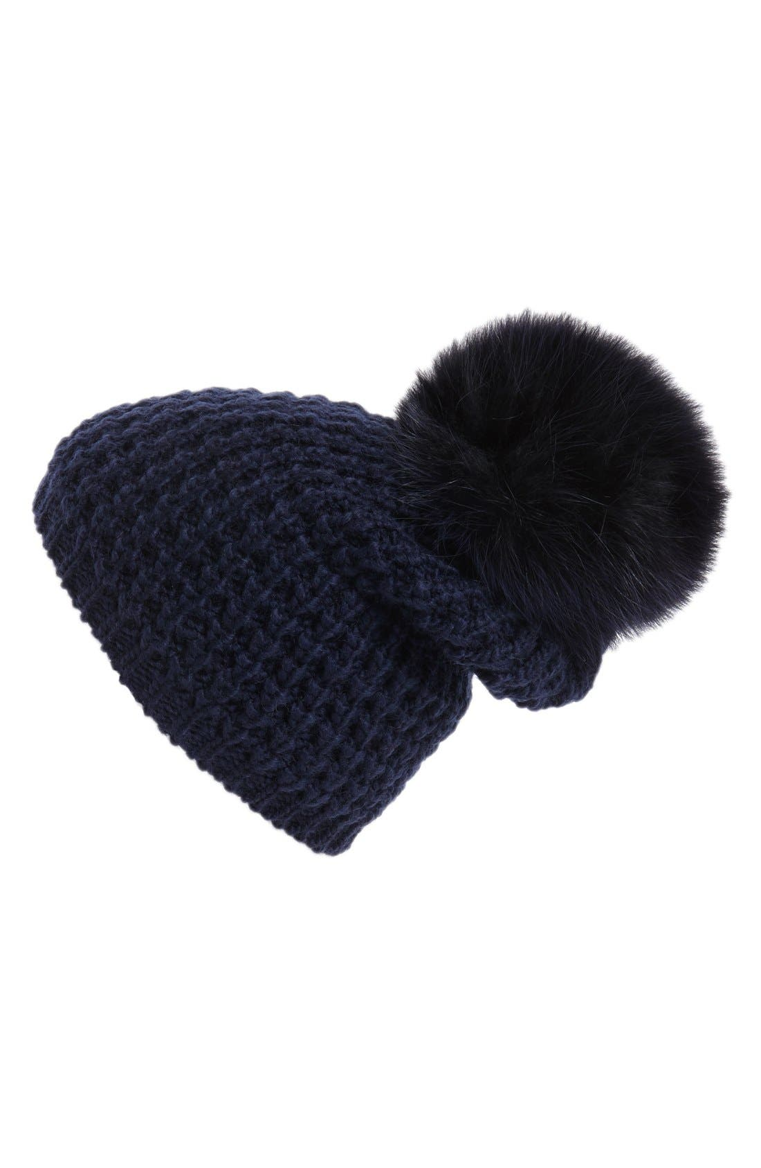 Genuine Fox Pompom Hat,                             Main thumbnail 12, color,