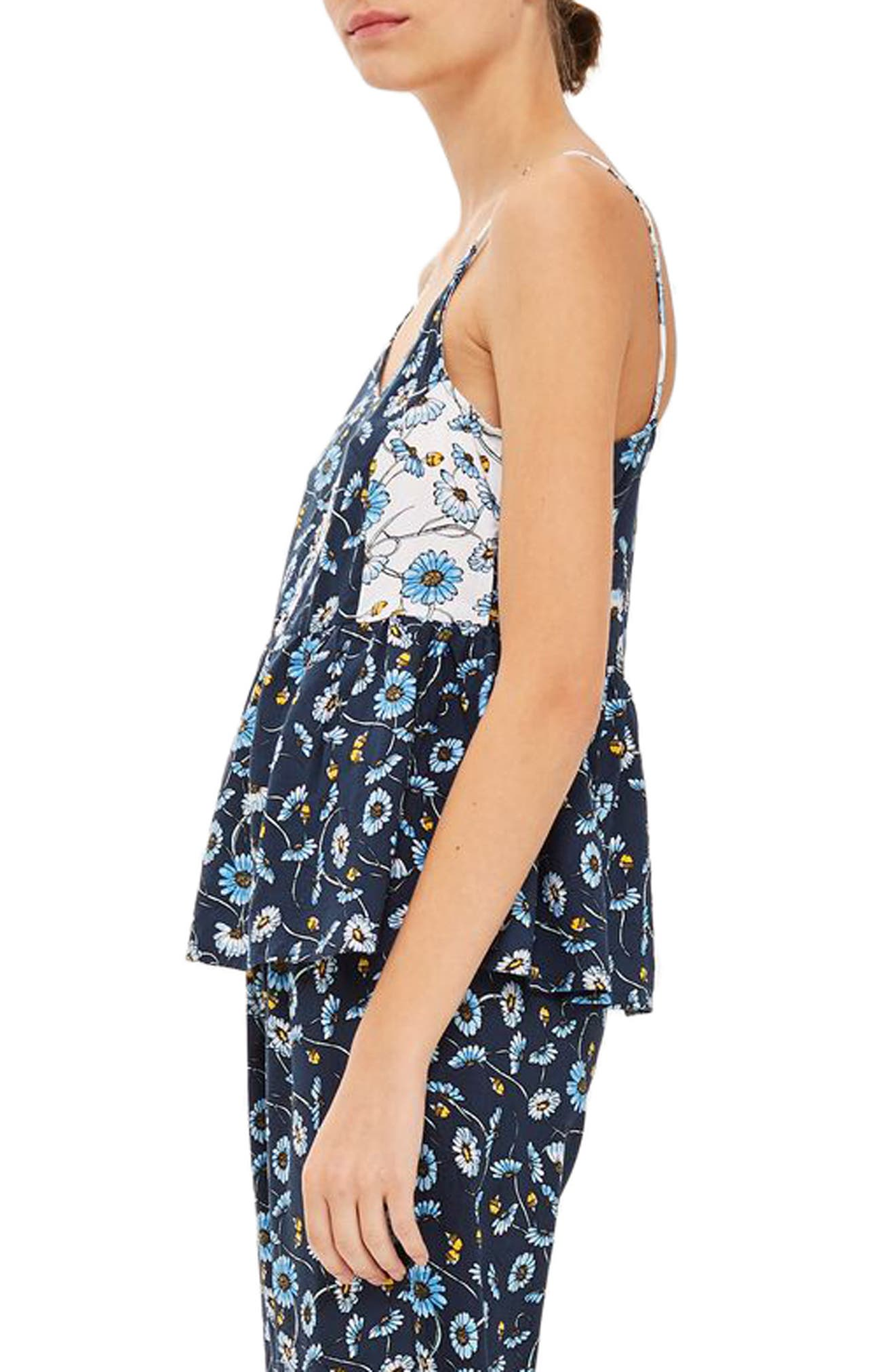 TOPSHOP,                             Floral Cami Sleep Top,                             Alternate thumbnail 3, color,                             411