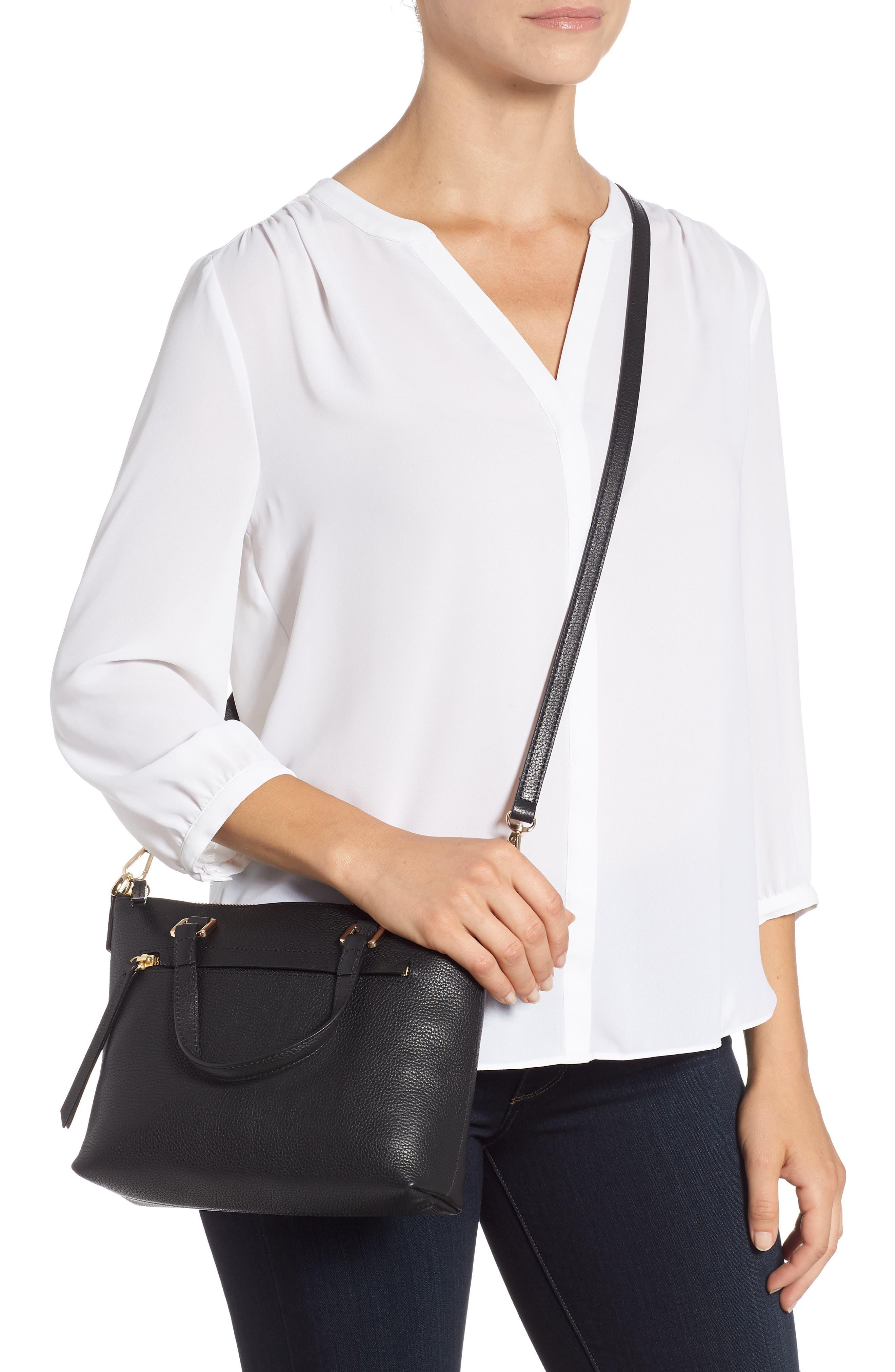 Lexa Leather Crossbody Bag,                             Alternate thumbnail 2, color,                             BLACK
