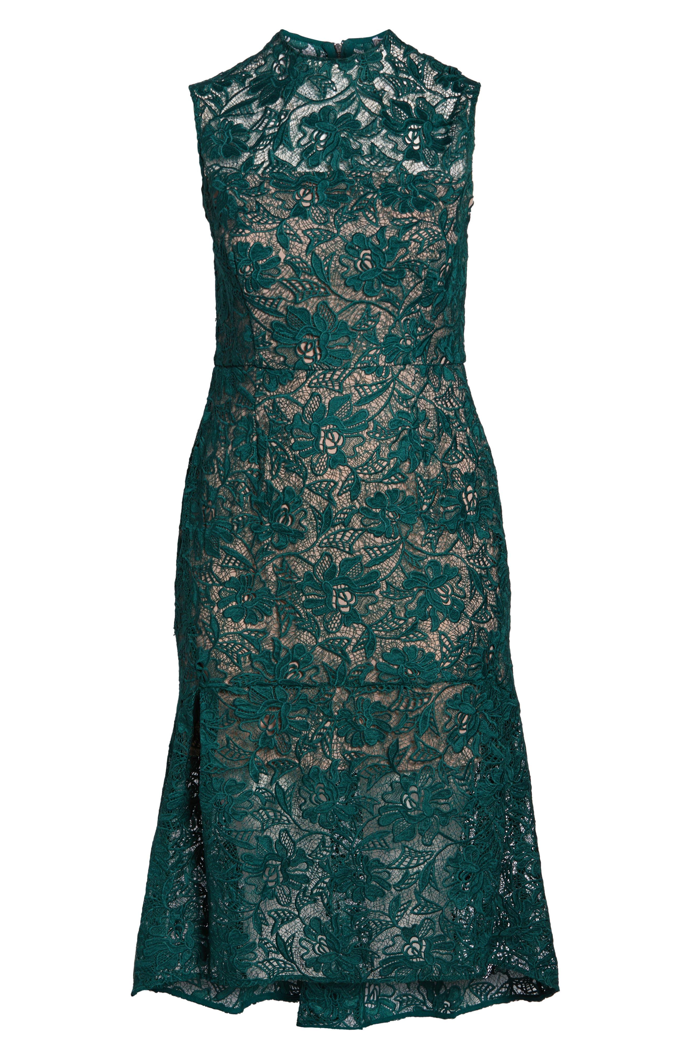 Lace Mock Neck Midi Dress,                             Alternate thumbnail 7, color,                             301