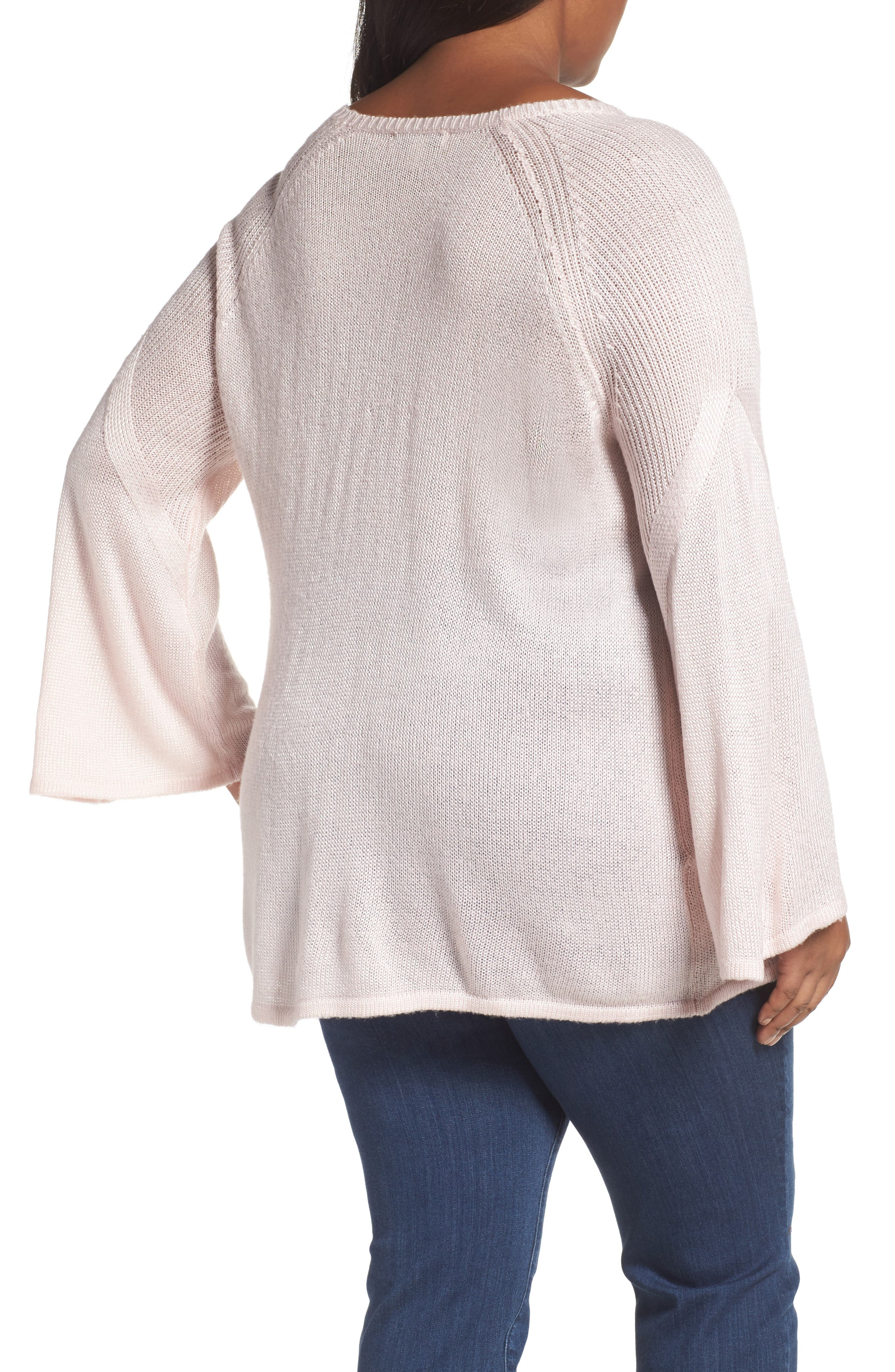 Bell Sleeve Sweater,                             Alternate thumbnail 4, color,