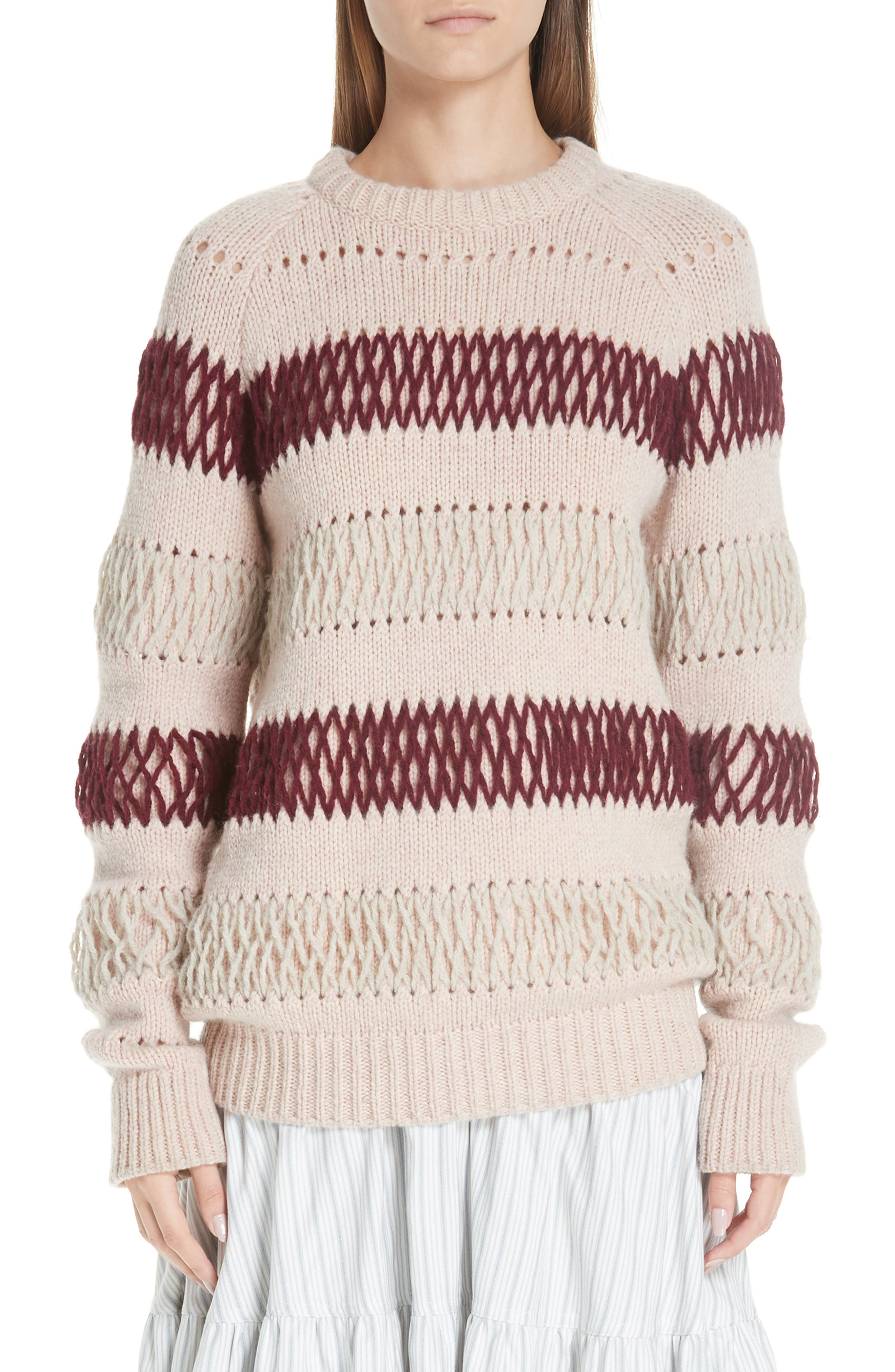 Embroidered Stripe Wool Sweater,                             Main thumbnail 1, color,                             PALE PINK BURGUNDY