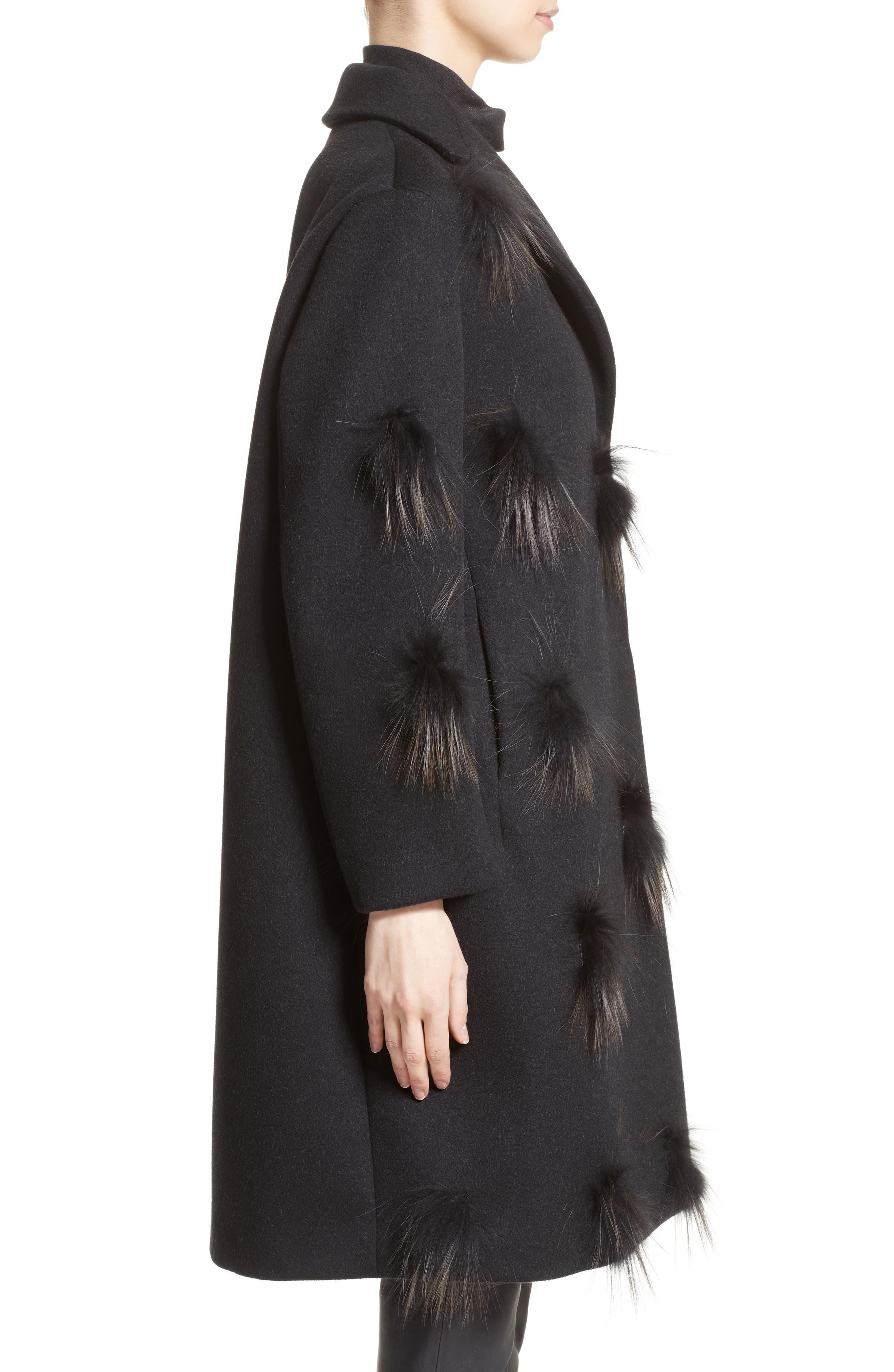 Genuine Fox Fur Trim Wool Blend Coat,                             Alternate thumbnail 3, color,                             001