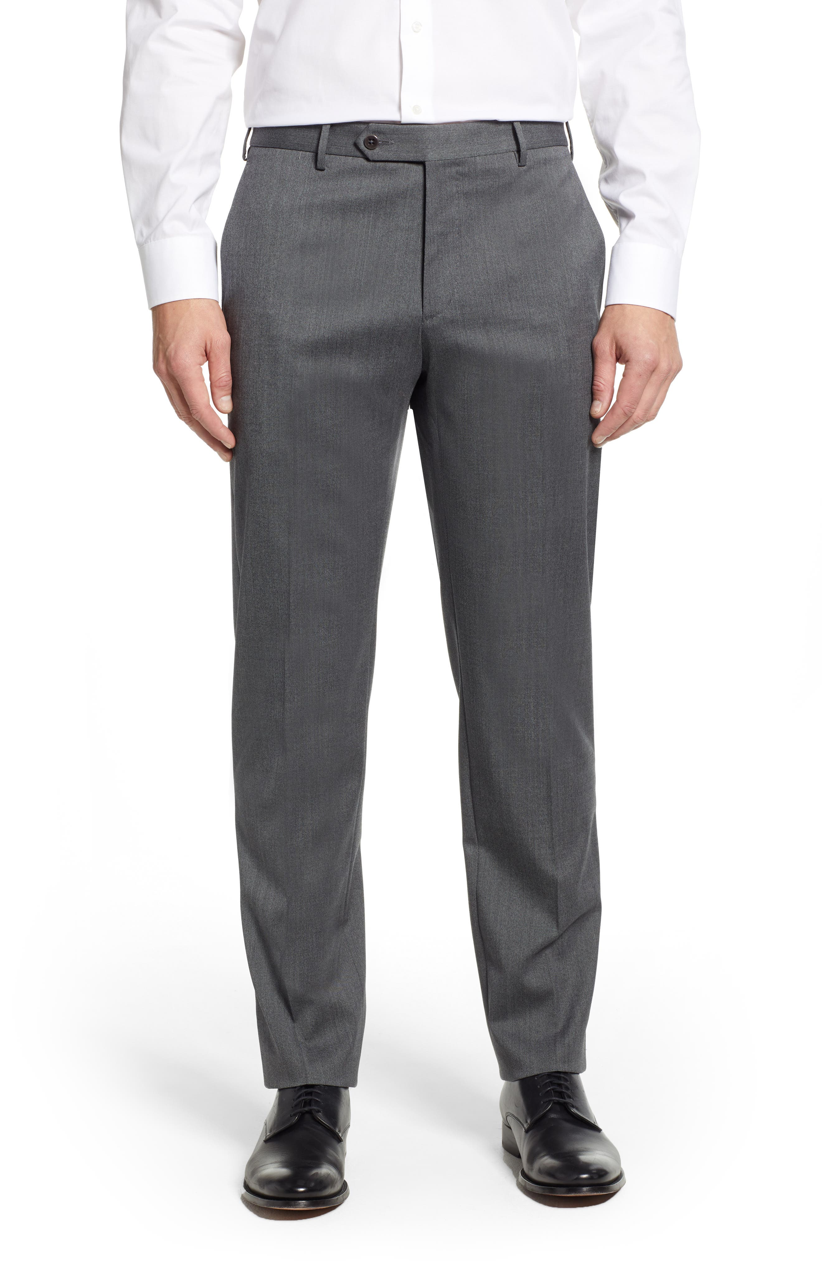 Parker Flat Front Stretch Twill Wool Trousers,                             Main thumbnail 1, color,                             GREY