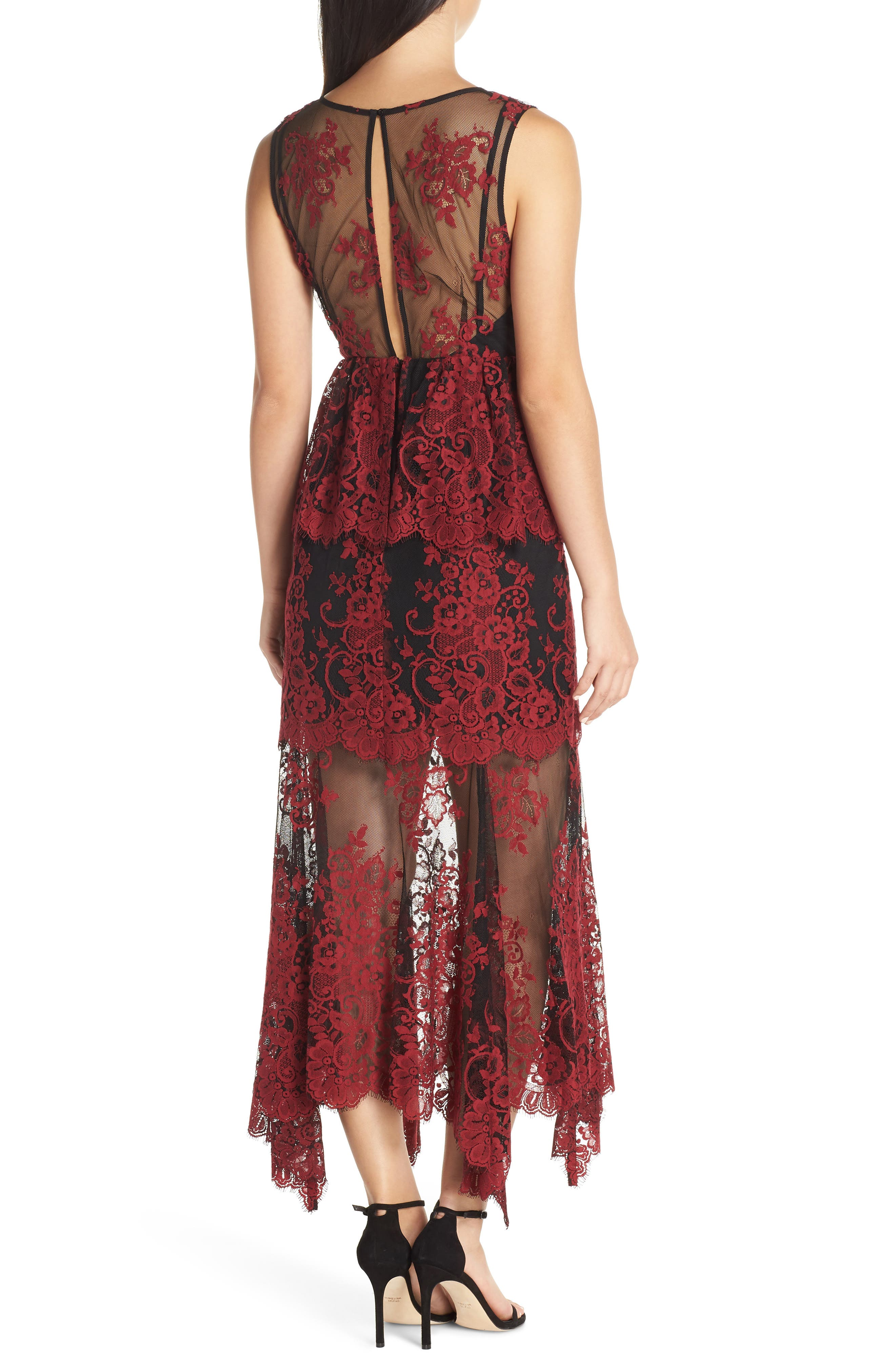 The Brooklyn Tiered Gown,                             Alternate thumbnail 2, color,                             BLACK-RED LACE