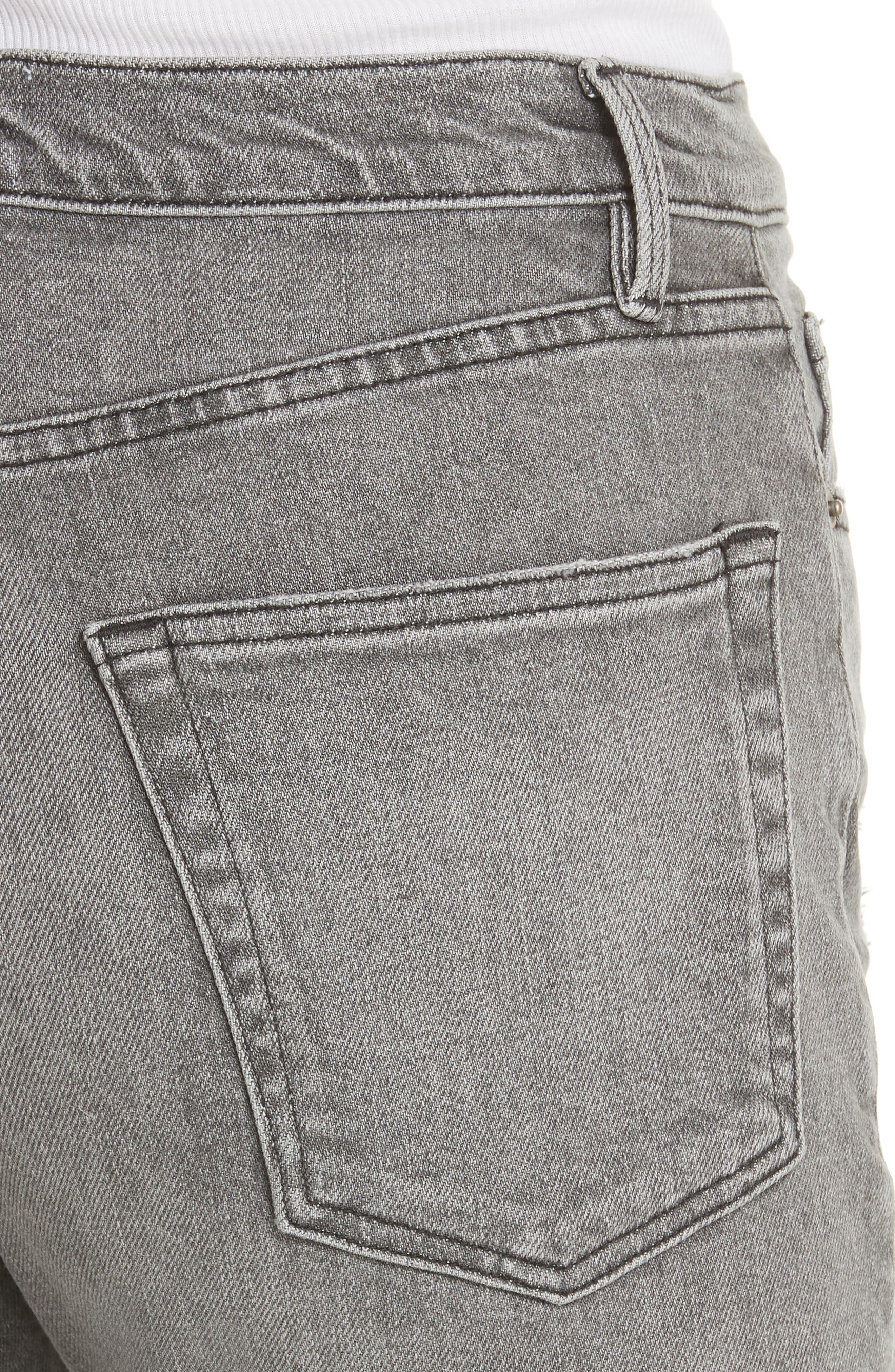 Le Original High Waist Raw Edge Jeans,                             Alternate thumbnail 4, color,                             COLD ASH